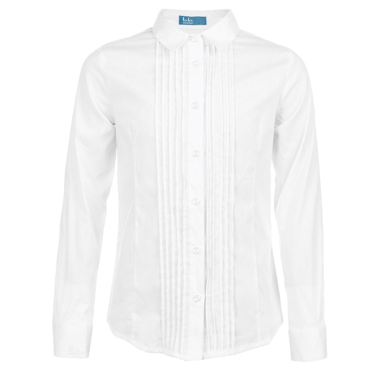 Блуза для девочки. 215BBGS2203215BBGS2203Классическая блуза для девочки Orby идеально подойдет для школы. Изготовленная из полиэстера с добавлением нейлона и эластана, она необычайно мягкая, легкая и приятная на ощупь, не сковывает движения и позволяет коже дышать, не раздражает даже самую нежную и чувствительную кожу ребенка, обеспечивая ему наибольший комфорт. Блузка с отложным воротничком и длинными рукавами застегивается на пластиковые пуговицы по всей длине. Рукава дополнены широкими манжетами на пуговицах. Спереди изделие оформлено защипами, что придает изделию оригинальность. Низ изделия по бокам закруглен. Правый рукав оформлен вышивкой в виде названия бренда. Такая блуза - незаменимая вещь для школьной формы, отлично сочетается с юбками, брюками и сарафанами. Эта модель всегда выглядит великолепно!