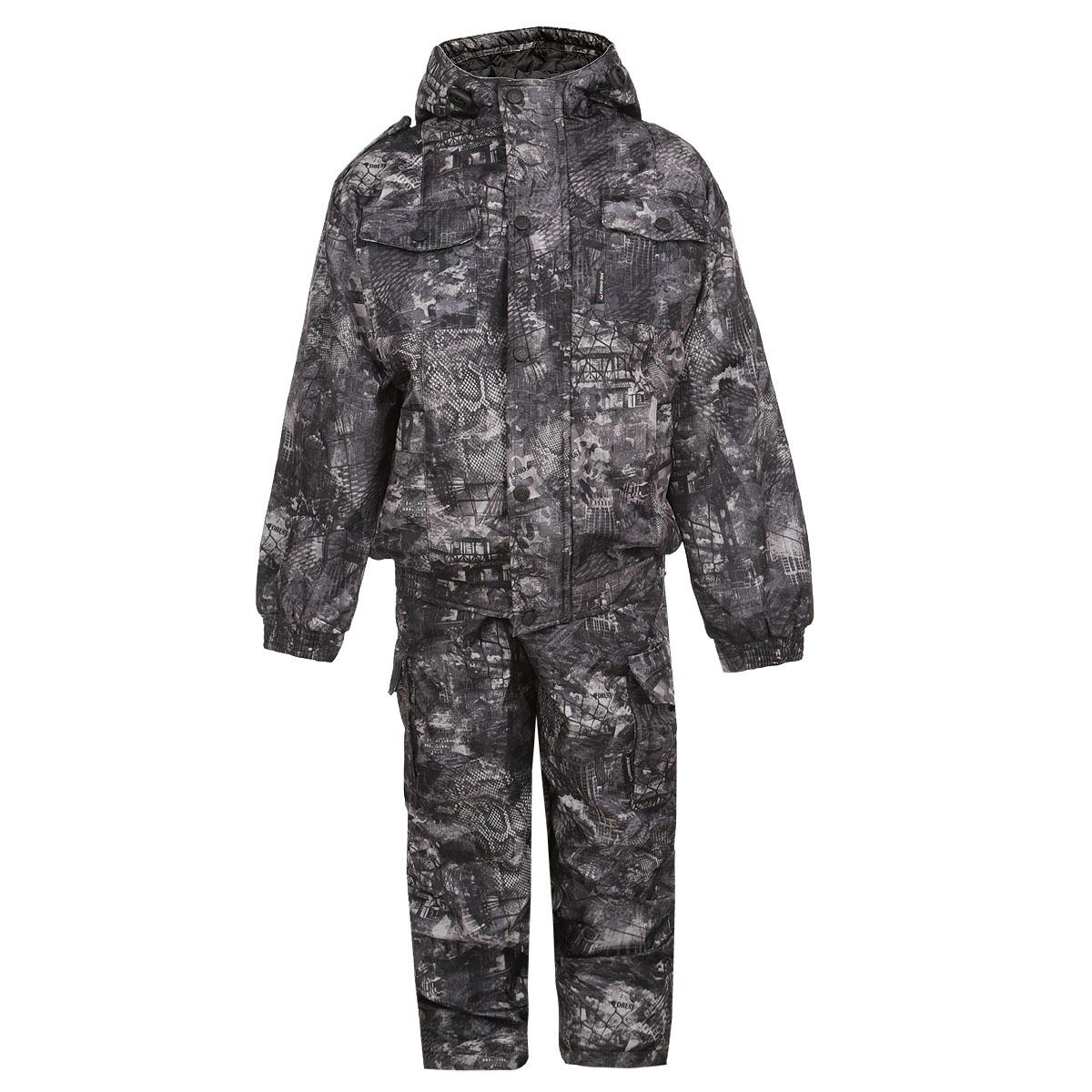 Комплект верхней одежды4889Теплый комплект для мальчика Cosmo-Tex Аватарчик, состоящий из куртки и брюк, идеальный выбор как для активных и динамичных игр на открытом воздухе, так и для походов в лес. Комплект изготовлен из высококачественного материала на подкладке из 100% полиэстера с наполнителем из синтепона. Куртка с капюшоном дополнена центральной бортовой застежкой-молнией, сверху защищенной планкой на кнопках. Капюшон не отстегивается и дополнен по краю скрытой эластичной резинкой со стопперами. Рукава понизу дополнены широкими эластичными манжетами. Низ модели дополнен широкой эластичной резинкой, препятствующей проникновению холодного воздуха. Спереди предусмотрены четыре накладных кармана с клапанами. Брюки на талии имеют широкую эластичную резинку со скрытым шнурком, благодаря чему они не сжимают животик ребенка и не слетают. Спереди брюки дополнены двумя втачными карманами. По бокам предусмотрены два накладных карманам с клапанами на кнопках. Низ брючин имеет скрытые резинки на...