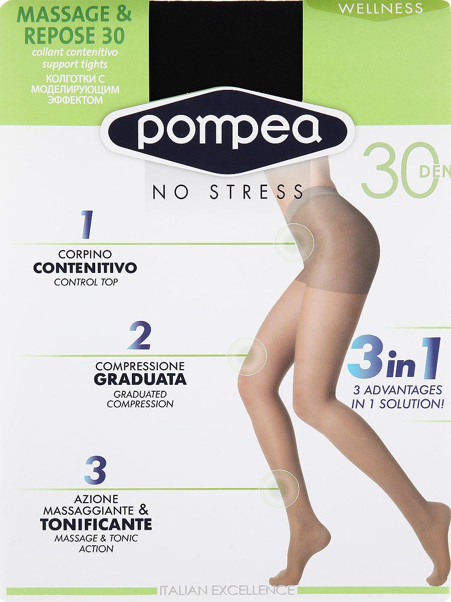 Колготки женские Wellness Massage & Repose 30Massage & Repose 30Матовые эластичные колготки Pompea Wellness Massage & Repose, с распределенным давлением, плоским швом, шортиками, мягким поясом, ластовицей и укрепленным мыском. С массажным эффектом, стимулирующим кровообращение, помогающим предотвратить усталость и отечность, с антицеллюлитным эффектом. Плотность: 30 den.