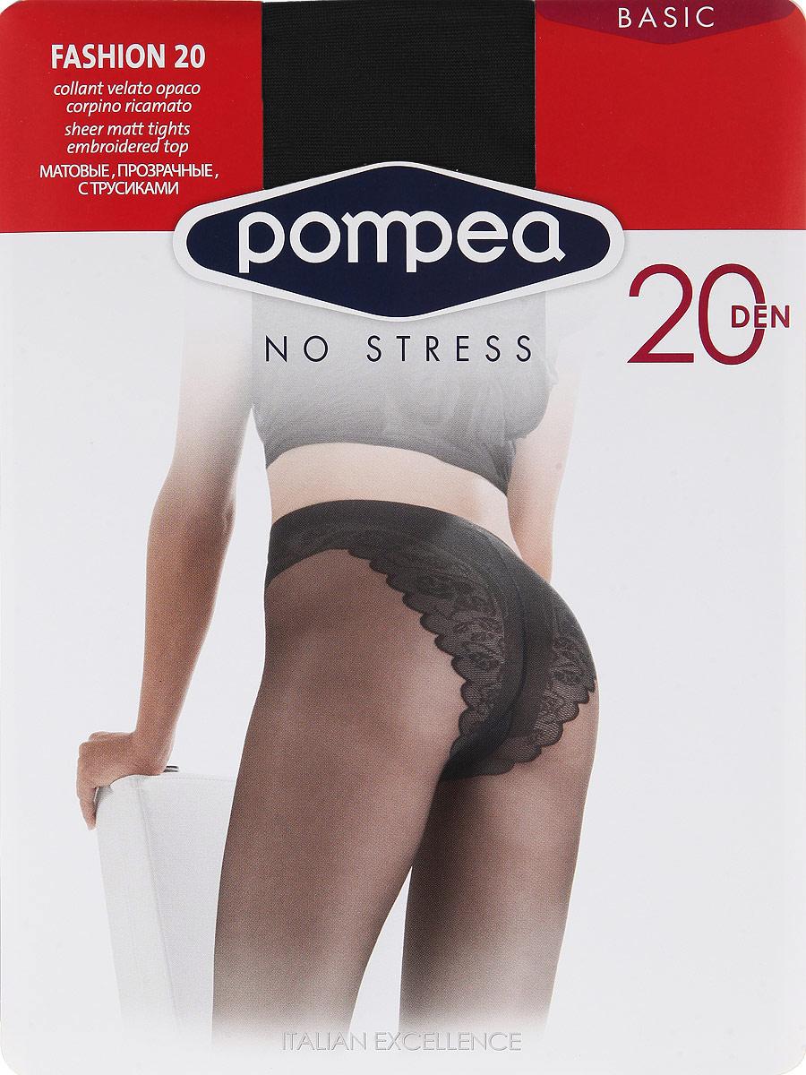 Колготки женские. Fashion 20Fashion 20Матовые эластичные колготки Pompea Fashion, с элегантными кружевными трусиками, мягким поясом, хлопчатобумажной ластовицей и прозрачным мыском. Плотность: 20 den.