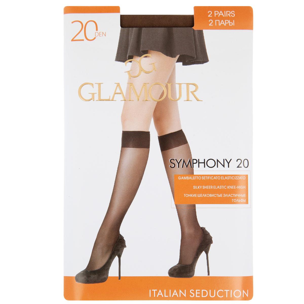 Гольфы женские Glamour Symphony 20, 2 парыSymphony 20 GB*2Тонкие шелковистые эластичные гольфы с мягкой комфортной резинкой и укрепленным мыском. В комплекте 2 пары. Плотность 20 Ден.