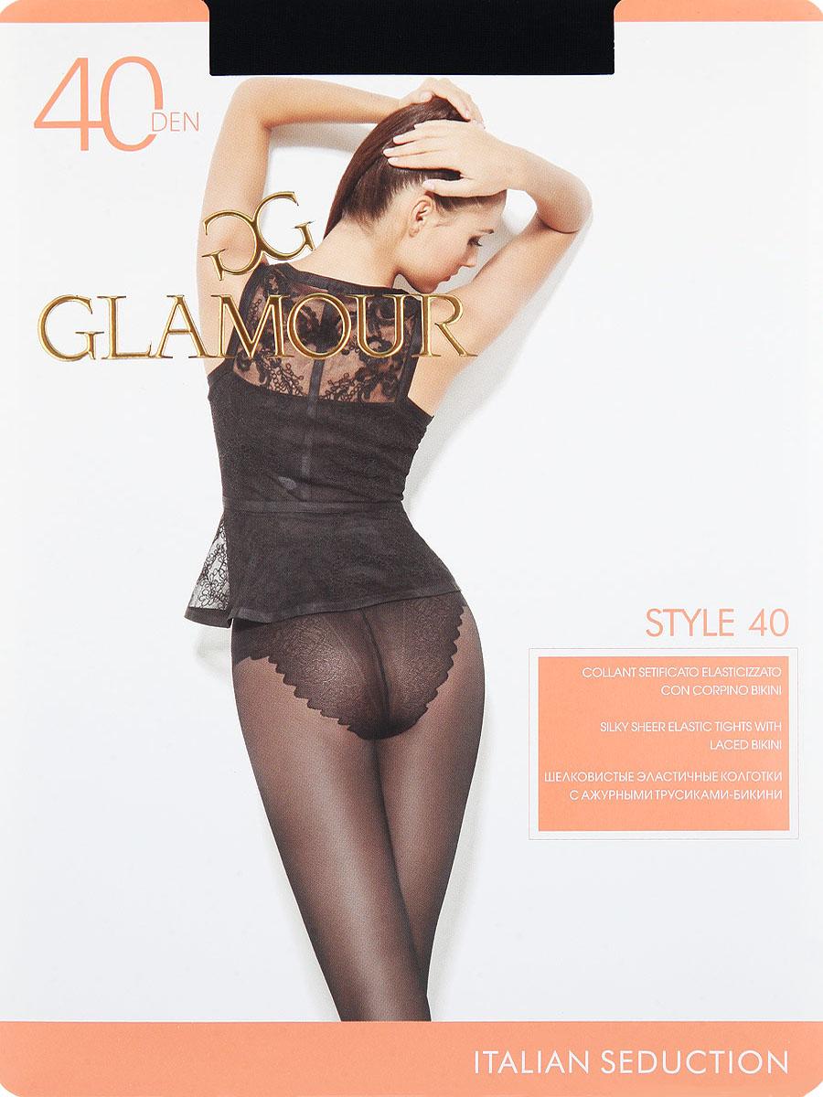 Колготки Style 40Style 40Шелковистые эластичные колготки с ажурными трусиками-бикини. Комфортный пояс, гигиеническая ластовица, прозрачный укрепленный мысок. Плотность: 40 den.
