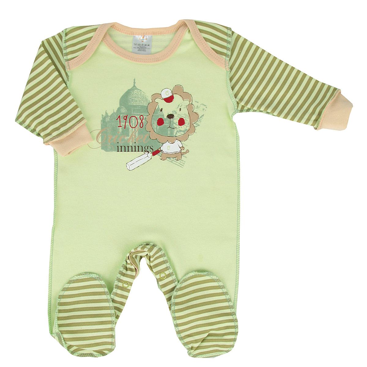 Комбинезон для мальчика. 61836183Детский комбинезон для мальчика КотМарКот - очень удобный и практичный вид одежды для малышей. Комбинезон выполнен из натурального хлопка, благодаря чему он необычайно мягкий и приятный на ощупь, не раздражает нежную кожу ребенка, хорошо вентилируется, и не препятствует его движениям. Комбинезон с длинными рукавами и закрытыми ножками имеет удобные запахи на плечах и застегивается при помощи ряда кнопок по внутреннему шву штанин, что помогает легко переодеть младенца и сменить подгузник. Рукава дополнены широкими трикотажными манжетами, которые мягко обхватывают запястья. Комбинезон декорирован принтом в полоску и оформлен изображением очаровательного львенка-спортсмена. С этим детским комбинезоном спинка и ножки вашего малыша всегда будут в тепле, он идеален для использования днем и незаменим ночью. Комбинезон полностью соответствует особенностям жизни младенца в ранний период, не стесняя и не ограничивая его в движениях!