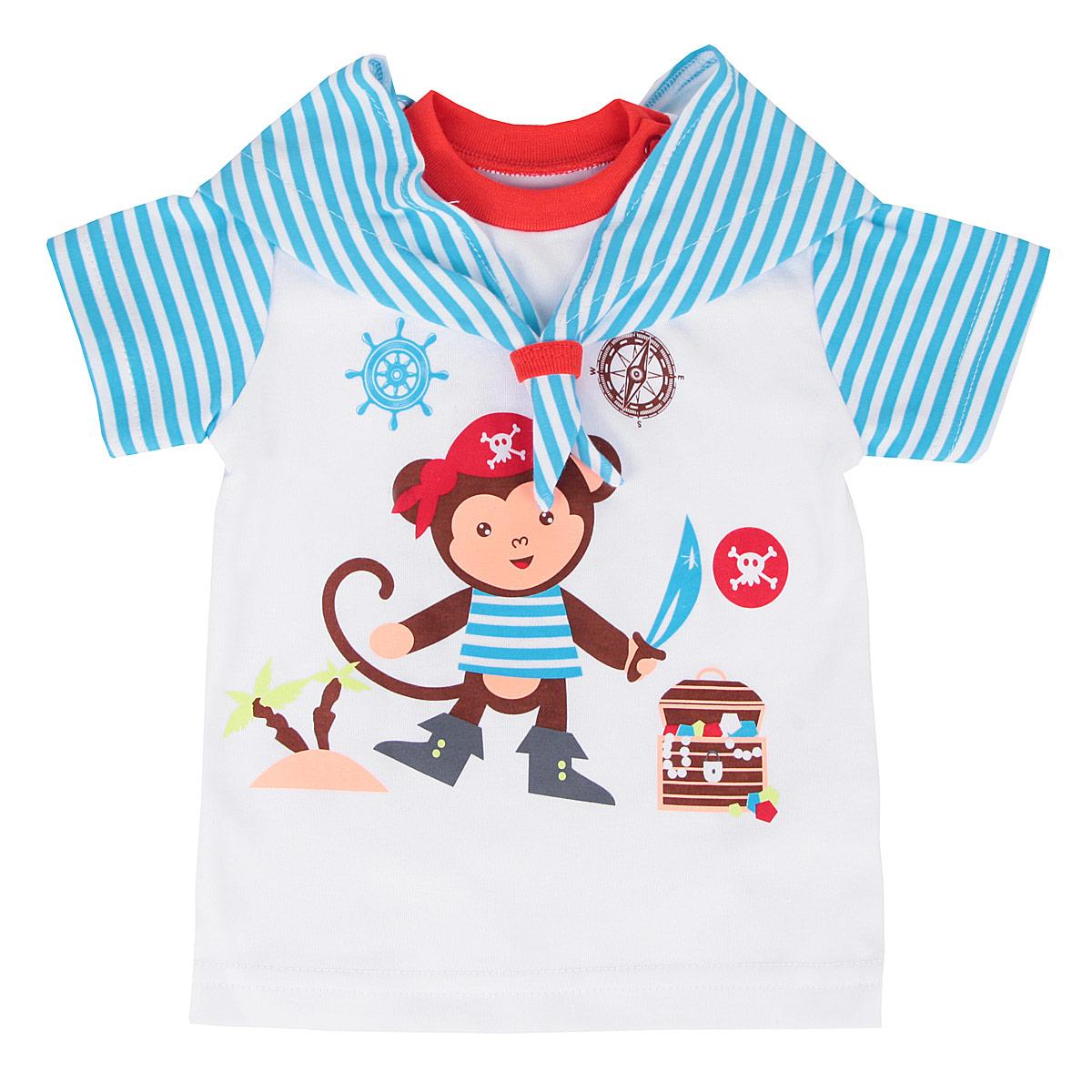 Футболка3761Очаровательная футболка для мальчика КотМарКот послужит идеальным дополнением к гардеробу вашего малыша, обеспечивая ему наибольший комфорт. Изготовленная из натурального хлопка - интерлока, она необычайно мягкая и легкая, не раздражает нежную кожу ребенка и хорошо вентилируется, а эластичные швы приятны телу младенца и не препятствуют его движениям. Футболка с короткими рукавами и круглым врезом горловины имеет металлические застежки-кнопки по плечу, которые позволяют без труда переодеть ребенка. Вырез горловины дополнен трикотажной эластичной резинкой. Оформлено изделие принтом в полоску и принтом с изображением обезьянки-пирата, а также украшено декоративным матросским воротником. Футболка полностью соответствует особенностям жизни малыша в ранний период, не стесняя и не ограничивая его в движениях.