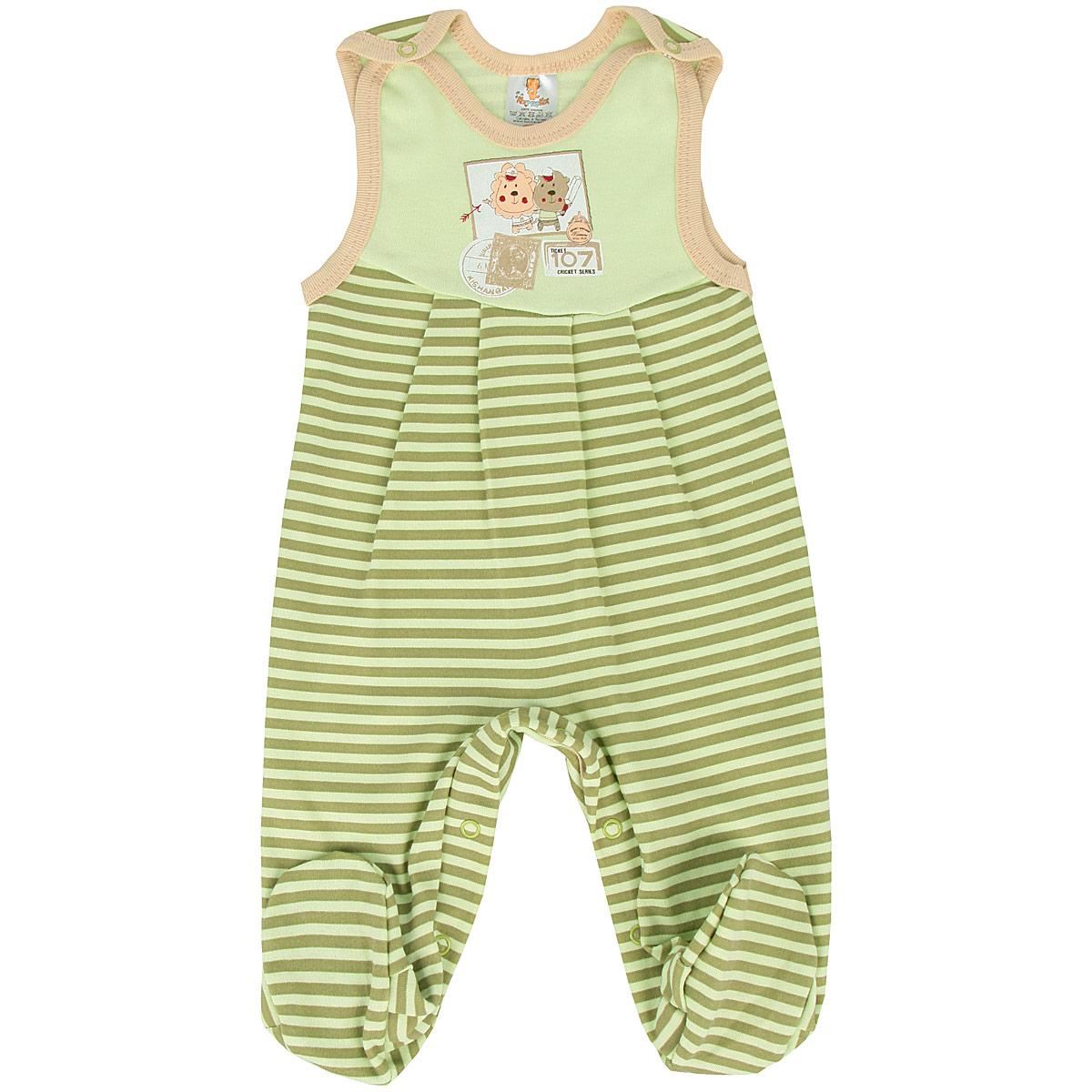 Ползунки с грудкой для мальчика. 53835383Ползунки с грудкой для мальчиков КотМарКот - очень удобный и практичный вид одежды для малышей. Они отлично сочетаются с футболками и кофточками. Ползунки выполнены из натурального хлопка, благодаря чему они необычайно мягкие и приятные на ощупь, не раздражают нежную кожу ребенка и хорошо вентилируются, а эластичные швы приятны телу малыша и не препятствуют его движениям. Ползунки с закрытыми ножками, застегивающиеся на кнопки на груди, идеально подойдут вашему малышу, обеспечивая ему наибольший комфорт, подходят для ношения с подгузником и без него. Кнопки на ластовице помогают легко и без труда поменять подгузник в течение дня. Модель оформлена декоративными защипами под грудкой, и украшена принтом в полоску и изображением почтовых марок с забавными зверюшками. Ползунки с грудкой полностью соответствуют особенностям жизни малыша в ранний период, не стесняя и не ограничивая его в движениях!