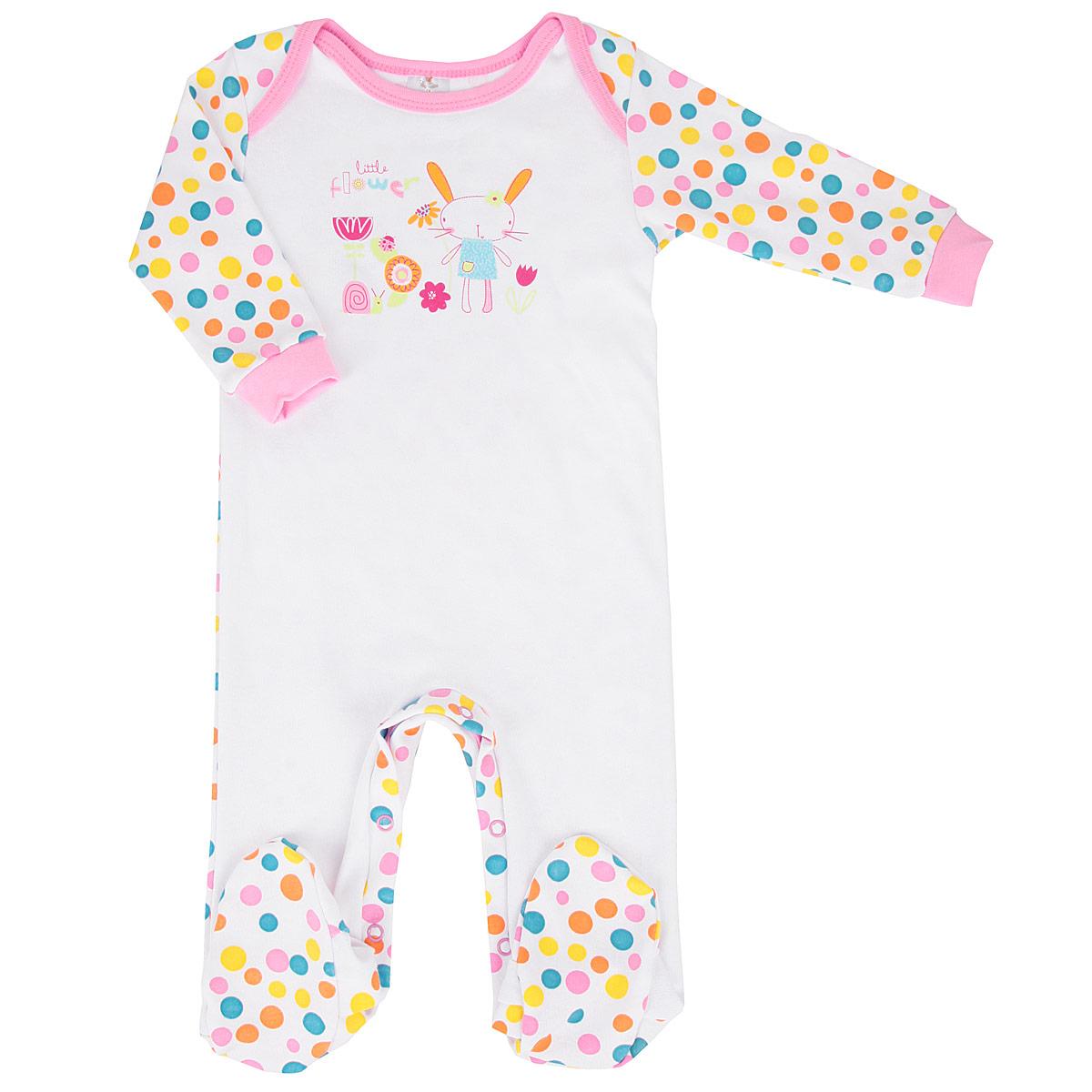 Комбинезон для девочки. 61846184Детский комбинезон для девочки КотМарКот - очень удобный и практичный вид одежды для малышей. Комбинезон выполнен из натурального хлопка, благодаря чему он необычайно мягкий и приятный на ощупь, не раздражает нежную кожу ребенка и хорошо вентилируется, а эластичные швы приятны телу малышки и не препятствуют ее движениям. Комбинезон с длинными рукавами и закрытыми ножками застегивается при помощи ряда кнопок на внутренней стороне штанин, что помогает легко переодеть младенца или сменить подгузник. На плечах расположены запахи, облегчающие одевание младенца. Рукава дополнены широкими трикотажными манжетами, которые мягко обхватывают запястья. Комбинезон декорирован принтом в крупный цветной горох и оформлен изображением очаровательного зайчика. С этим детским комбинезоном спинка и ножки вашей малышки всегда будут в тепле, он идеален для использования днем и незаменим ночью. Комбинезон полностью соответствует особенностям жизни младенца в ранний период, не стесняя и не...