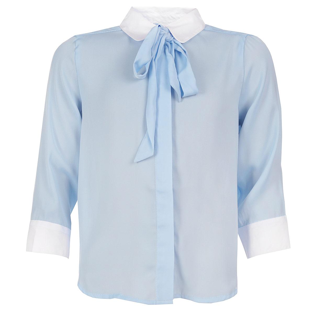 Блуза для девочки. 6299762997_OLGСтильная блуза для девочки Orby идеально подойдет для школы. Изготовленная из полиэстера с добавлением вискозы, она необычайно мягкая, легкая и приятная на ощупь, не сковывает движения и позволяет коже дышать, не раздражает даже самую нежную и чувствительную кожу ребенка, обеспечивая ему наибольший комфорт. Блузка из креп-шифона свободного кроя с отложным воротничком и рукавами 3/4 застегивается на пластиковые пуговички по всей длине, скрытые под планкой. Рукава понизу дополнены широкими манжетами на пуговицах. Воротник украшен съемным бантом-галстуком, что придает изделию оригинальность. Спинка изделия удлинена и украшена небольшими складочками. Низ модели по бокам закруглен. Такая блуза - незаменимая вещь для школьной формы, отлично сочетается с юбками и брюками. Эта модель всегда выглядит великолепно!