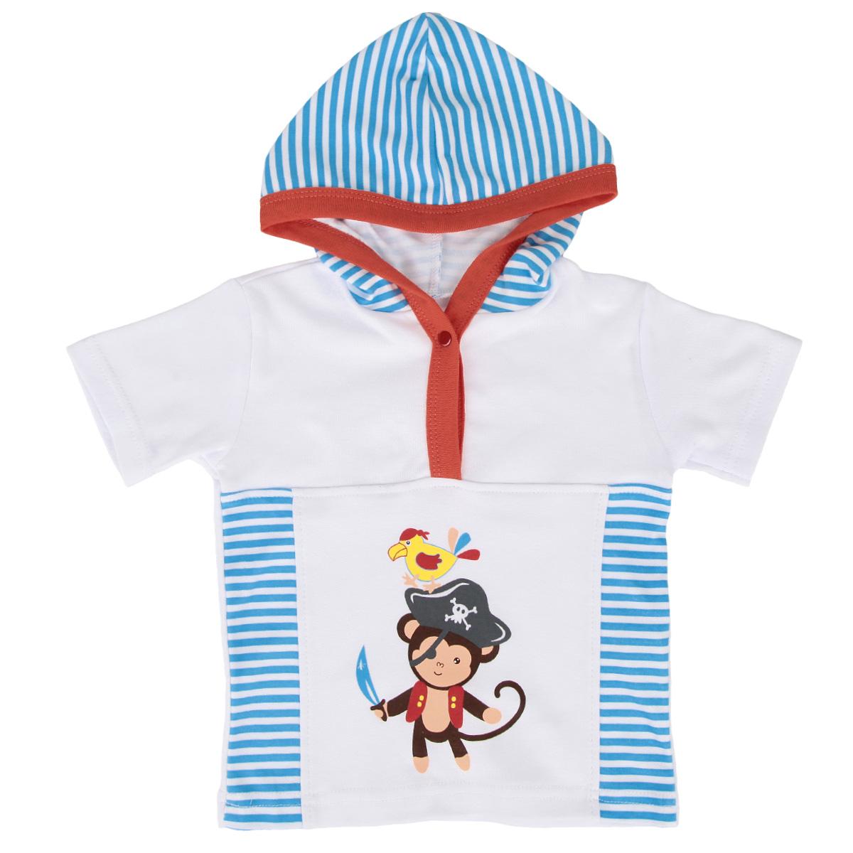 Футболка3762Очаровательная футболка для мальчика КотМарКот послужит идеальным дополнением к гардеробу вашего малыша, обеспечивая ему наибольший комфорт. Изготовленная из натурального хлопка - интерлока, она необычайно мягкая и легкая, не раздражает нежную кожу ребенка и хорошо вентилируется, а эластичные швы приятны телу младенца и не препятствуют его движениям. Футболка с короткими рукавами и капюшоном на груди застегивается на металлическую застежку-кнопку. Окантовка капюшона и планка дополнены контрастной трикотажной бейкой. Оформлено изделие принтом в полоску, а также принтом с изображением обезьянки-пирата. Футболка полностью соответствует особенностям жизни малыша в ранний период, не стесняя и не ограничивая его в движениях.