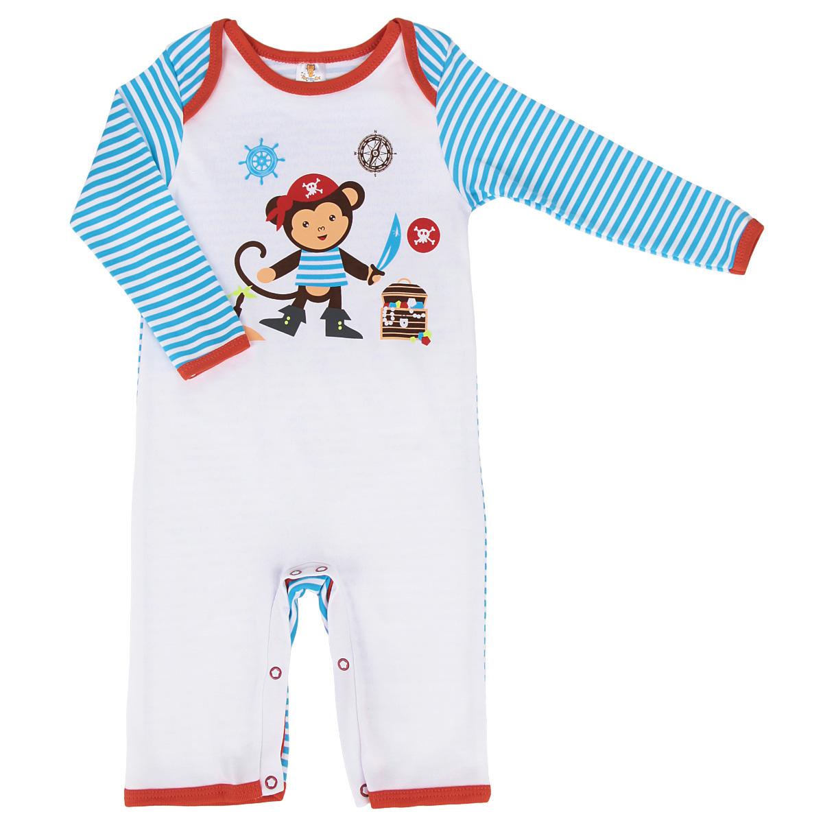 Комбинезон для мальчика. 36613661Комбинезон для мальчика КотМарКот - очень удобный и практичный вид одежды для малышей. Комбинезон выполнен из интерлока - натурального хлопка, благодаря чему он необычайно мягкий и приятный на ощупь, не раздражает нежную кожу ребенка и хорошо вентилируется, а эластичные швы приятны телу младенца и не препятствуют его движениям. Комбинезон с длинными рукавами и открытыми ножками имеет запахи на плечах, а также застежки-кнопки на ластовице, которые помогают легко переодеть ребенка или сменить подгузник. Низ рукавов, горловина и запахи на плечах оформлены контрастной трикотажной бейкой. Комбинезон оформлен принтом в полоску, а также принтом с изображением обезьянки-пирата. С таким детским комбинезоном спинка и ножки вашего малютки всегда будут в тепле, он идеален для использования днем и незаменим ночью. Комбинезон полностью соответствует особенностям жизни младенца в ранний период, не стесняя и не ограничивая его в движениях!