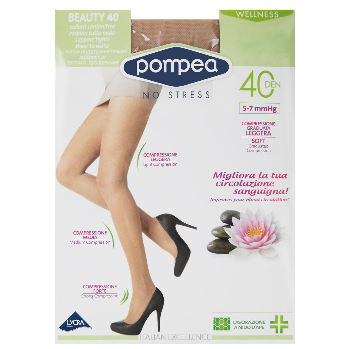 Колготки Intensive Beauty Wellness 4090767833 MineralКолготки женские, плотностью 40 ден, без трусиков, с распределенным давлением по ноге, вязка соты, плоские швы, ластовица из хлопка, укрепленные носок и пятка, гранулированная компрессия 5-7 mmHG.