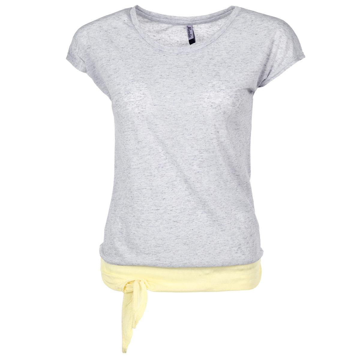 Футболка женская. L-TS-1743L-TS-1743 BLUE MELANGEСтильная женская футболка Moodo, выполненная из высококачественного материала, обладает высокой теплопроводностью, воздухопроницаемостью и гигроскопичностью, позволяет коже дышать. Модель с короткими рукавами и круглым вырезом горловины - идеальный вариант для создания образа в стиле Casual. Футболка по нижнему краю дополнена льняной вставкой контрастного цвета с декоративными завязками на узелок. Такая модель подарит вам комфорт в течение всего дня и послужит замечательным дополнением к вашему гардеробу.