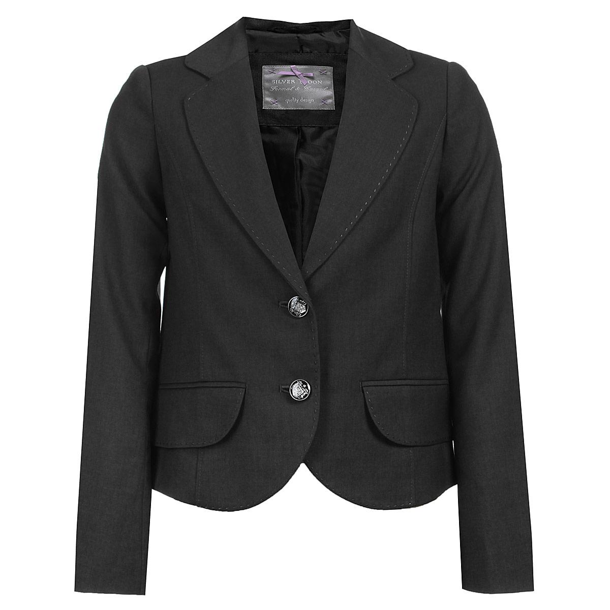 Пиджак для девочки. SS-B-G-0802SS-B-G-0802_003Классический пиджак для девочки Silver Spoon - основа делового стиля, а значит и в школьном гардеробе ребенка - это базовый атрибут, необходимый для будней и праздников. Изготовленный из высококачественного материала с добавлением вискозы, он необычайно мягкий и приятный на ощупь, не сковывает движения и позволяет коже дышать, не раздражает даже самую нежную и чувствительную кожу ребенка, обеспечивая ему наибольший комфорт. На подкладке использована гладкая подкладочная ткань. Модель с длинными рукавами и воротником с лацканами застегивается на две оригинальные пуговицы. Спереди он дополнен имитацией прорезных кармашков с клапанами. Планка, воротничок и клапаны оформлены прострочкой. Являясь важным атрибутом школьной моды, классический пиджак подчеркнет деловой имидж ученицы, придавая ей уверенность.
