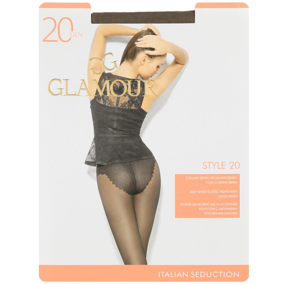 Колготки женские Style 20Style 20Тонкие шелковистые эластичные колготки с ажурными трусиками-бикини. Комфортный пояс, гигиеническая ластовица, прозрачный укрепленный мысок. Плотность: 20 den.