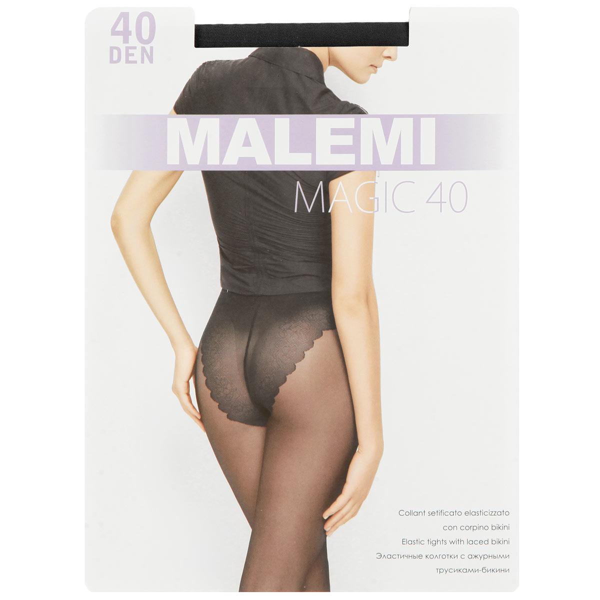 Колготки женские Magic 40Magic 40Эластичные колготки с ажурными трусиками-бикини. Комфортный пояс, гигиеническая ластовица, укрепленный прозрачный мысок. Плотность: 40 den.