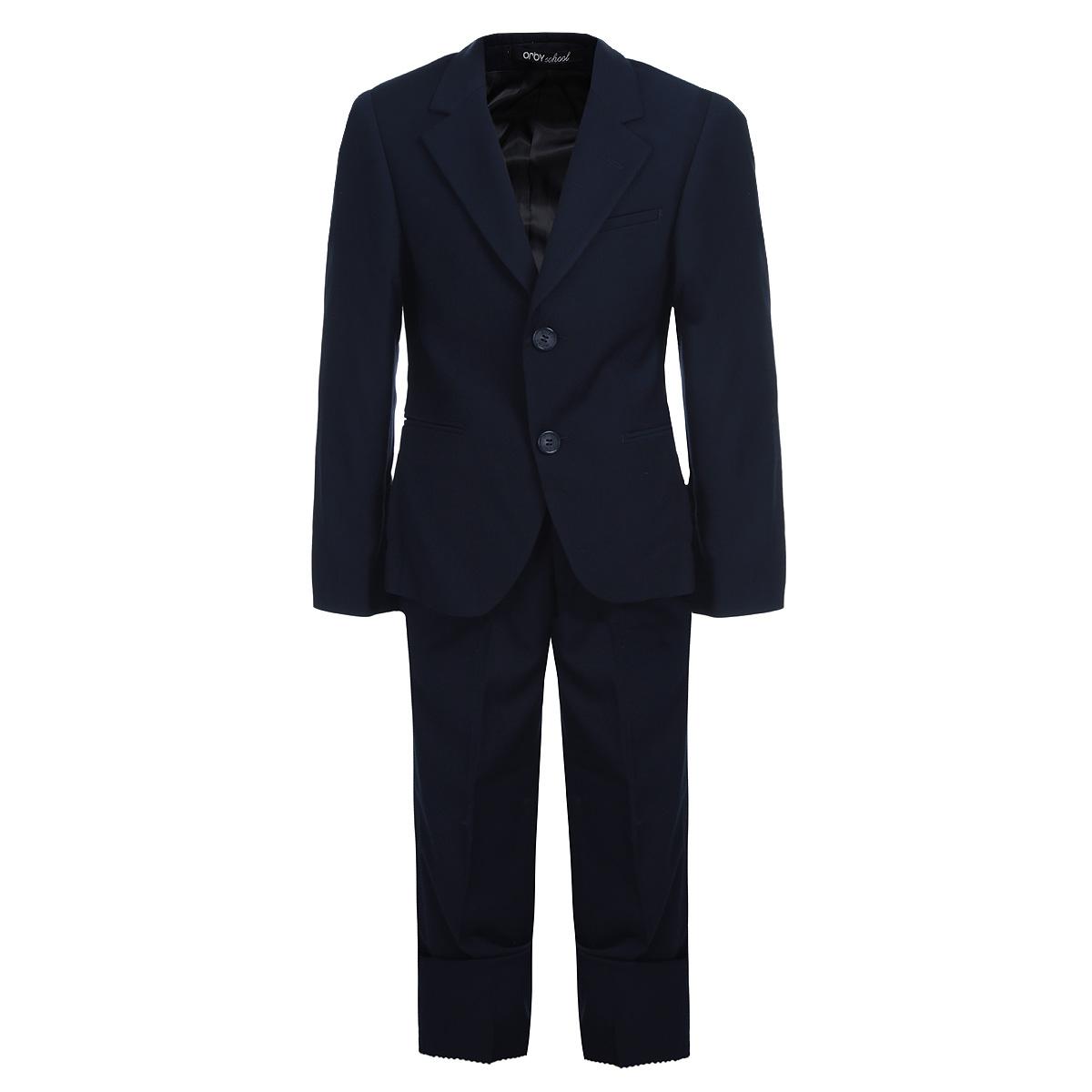 Костюм для мальчика. 6301763017Классический костюм для мальчика Orby, состоящий из пиджака и брюк - основа делового стиля, а значит и в школьном гардеробе ребенка - это базовый атрибут, необходимый для будней и праздников. Правильно подобранный костюм - тайное оружие каждого парня! Изготовленный из высококачественной костюмной ткани, он необычайно мягкий и приятный на ощупь, не сковывает движения и позволяет коже дышать, не раздражает даже самую нежную и чувствительную кожу ребенка, обеспечивая ему наибольший комфорт. На подкладке используется гладкая подкладочная ткань. Классический пиджак приталенного силуэта с английским воротником с зауженным лацканом застегивается на две пуговицы. Спереди он дополнен двумя прорезными карманами и небольшим нагрудным кармашком, а сзади имеется шлица. Также имеется внутренний кармашек для мобильного телефона, ключей или других мелких предметов. Внутренняя обработка пиджака, сделанная по самым высоким стандартам мужской моды, придает костюму солидность. Низ рукавов...