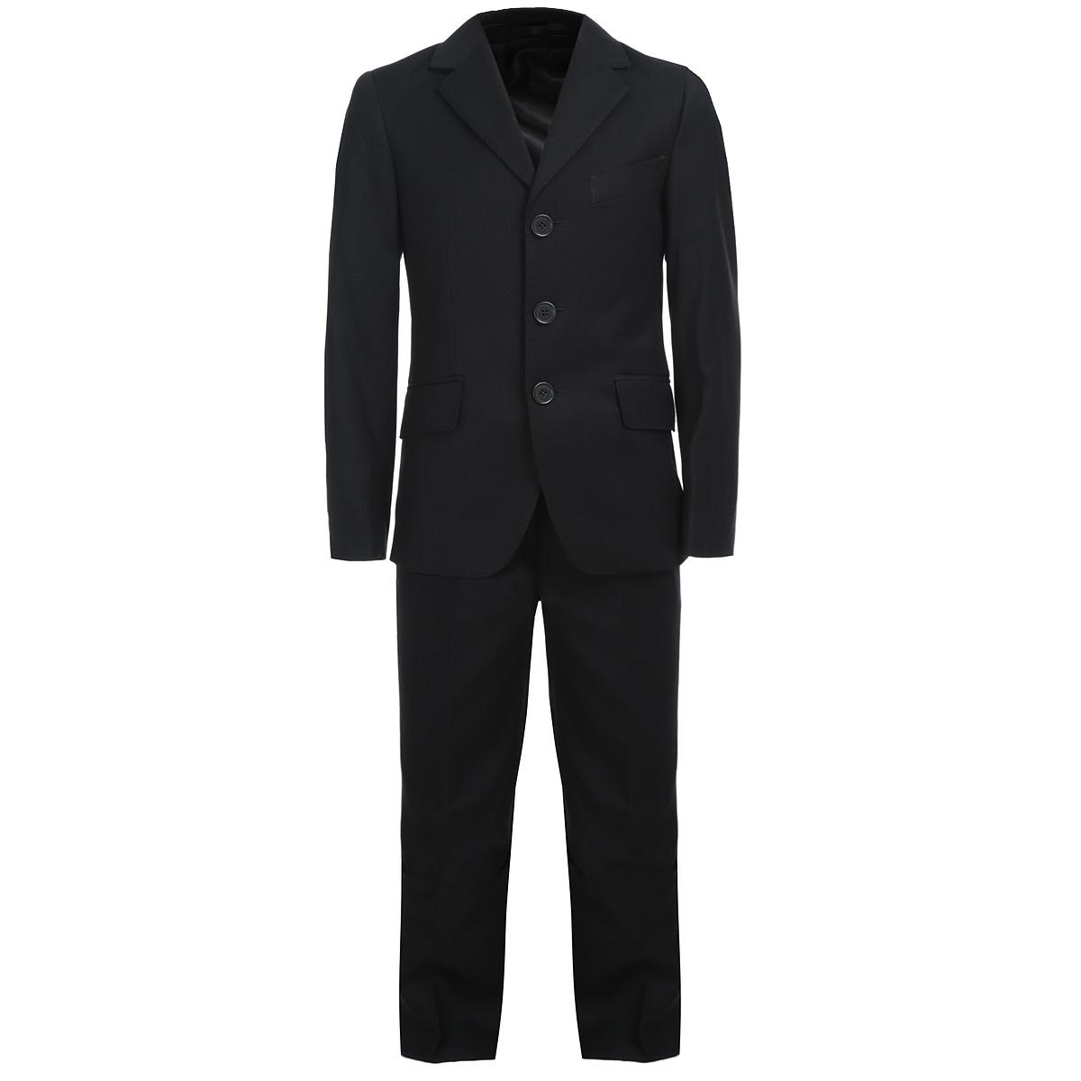 SS-B-B-0702_113Классический костюм для мальчика Silver Spoon, состоящий из пиджака и брюк, - основа делового стиля, а значит и в школьном гардеробе ребенка - это базовый атрибут, необходимый для будней и праздников. Изготовленный из высококачественного материала с добавлением вискозы, он необычайно мягкий и приятный на ощупь, не сковывает движения и позволяет коже дышать, не раздражает даже самую нежную и чувствительную кожу ребенка, обеспечивая ему наибольший комфорт. На подкладке используется гладкая подкладочная ткань. Классический пиджак с лацканами застегивается на три пуговицы. Спереди он дополнен двумя прорезными карманами с клапанами и одним нагрудным прорезным кармашком. Сзади имеются две шлицы. Рукава понизу декорированы пуговками. С внутренней стороны модель также дополнена прорезными кармашками. Внутренняя обработка пиджака, сделанная по самым высоким стандартам мужской моды, придает костюму солидность. Классические брюки прямого покроя со стрелками на талии застегиваются...