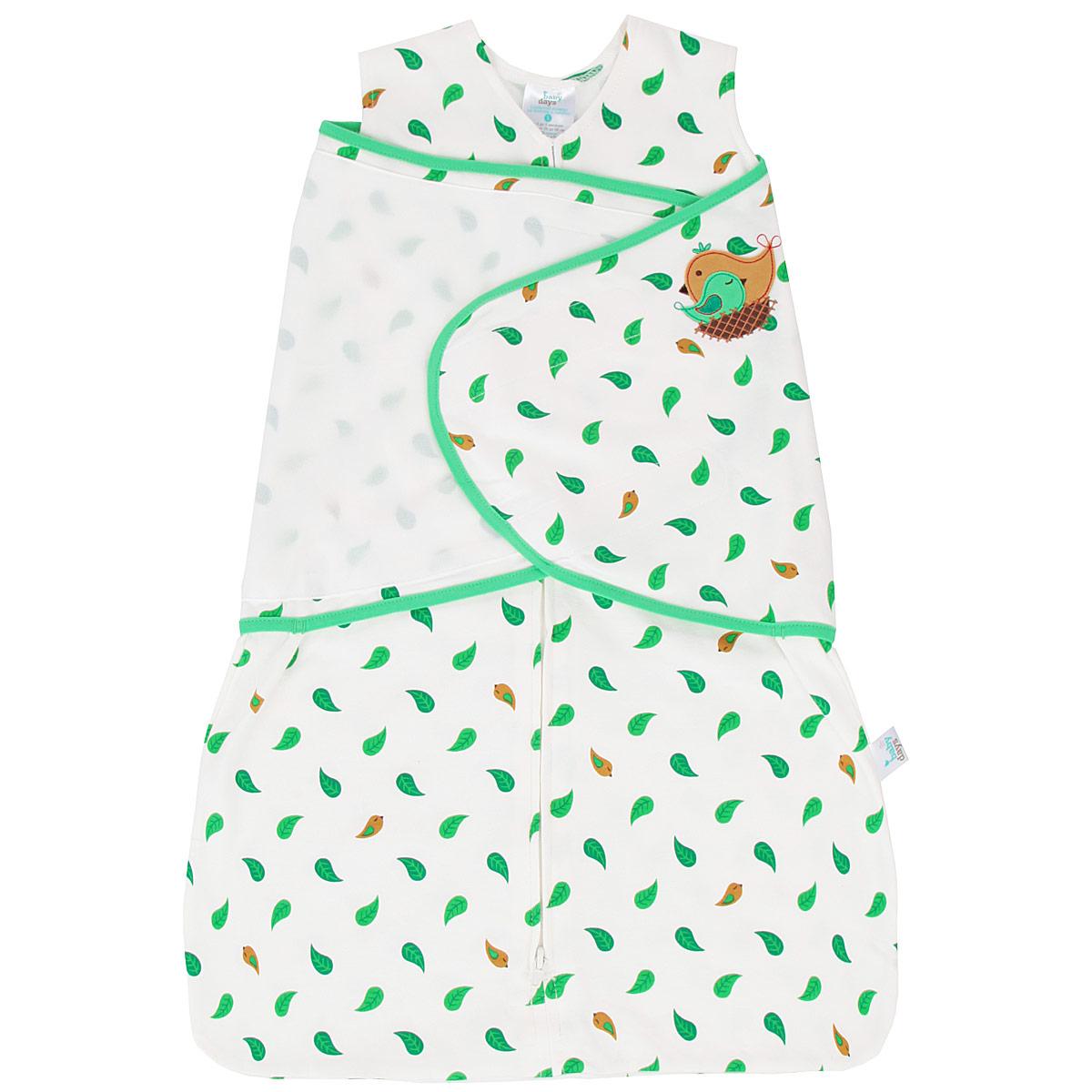 Спальный мешок для новорожденныхbd20001Спальный конверт для новорожденного Babydays Птичка, изготовленный из натурального хлопка, необычайно мягкий и легкий, не раздражает нежную кожу ребенка, и хорошо вентилируются и отлично впитывает влагу, а эластичные швы приятны телу ребенка и не препятствуют его движениям. Модель спроектирована с учетом максимальной безопасности и комфорта, заменяя традиционные одеяльца, которые могут закрыть малышу лицо и затруднить дыхание. Безрукавный крой снижает риск перегрева. Свободный крой не сковывает движения, что важно для правильного развития тазобедренного сустава. Конверт застегивается на пластиковую застежку-молнию снизу вверх, что делает удобным смену подгузников и не травмирует подбородок малыша, и дополнительно запахом на липучки. Модель спального конверта позволяет держать руки малыша как внутри, так и снаружи. Два способа пеленания малыша показаны на инструкции по использованию. Оформлено изделие принтом с изображением листочков, а также аппликацией в виде птички....