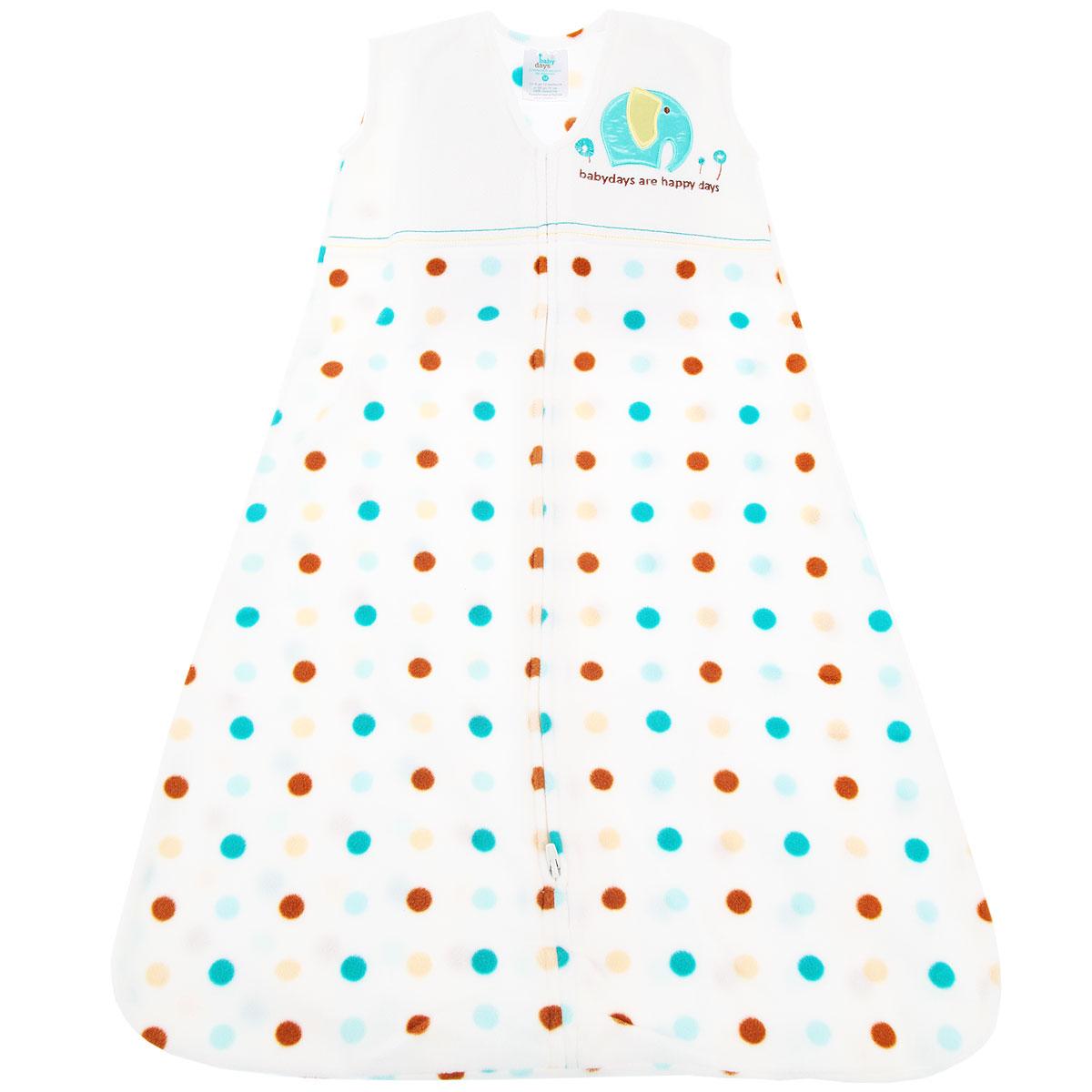 bd20008Спальный мешок для новорожденного Babydays Слоненок - это одновременно спальный мешок и теплое уютное одеяло. Мешок выполнен из теплого мягкого микрофлиса (220 г/м) - 100% полиэстера. Изделие отличается высокой прочностью и износостойкостью, материал не линяет, не теряет яркости, сохраняет свой первоначальный вид по мере использования и носки. Модель одевается поверх обычной одежды для сна, обеспечивая максимальный комфорт и безопасность. Мешок без рукавов и с круглым вырезом горловины застегивается на длинную застежку снизу вверх, что делает удобным смену подгузников и не травмирует подбородок. Безрукавный крой снижает риск перегрева. Свободная нижняя часть дает малышу достаточное пространство, чтобы двигать ножками: это необходимо для правильного развития тазобедренного сустава. Оформлено изделие гороховым принтом, а также на груди украшено аппликацией в виде слоника и вышитой надписью на английском языке. Спальный мешок заменяет одеяло, он безопасен и удобен во время сна...
