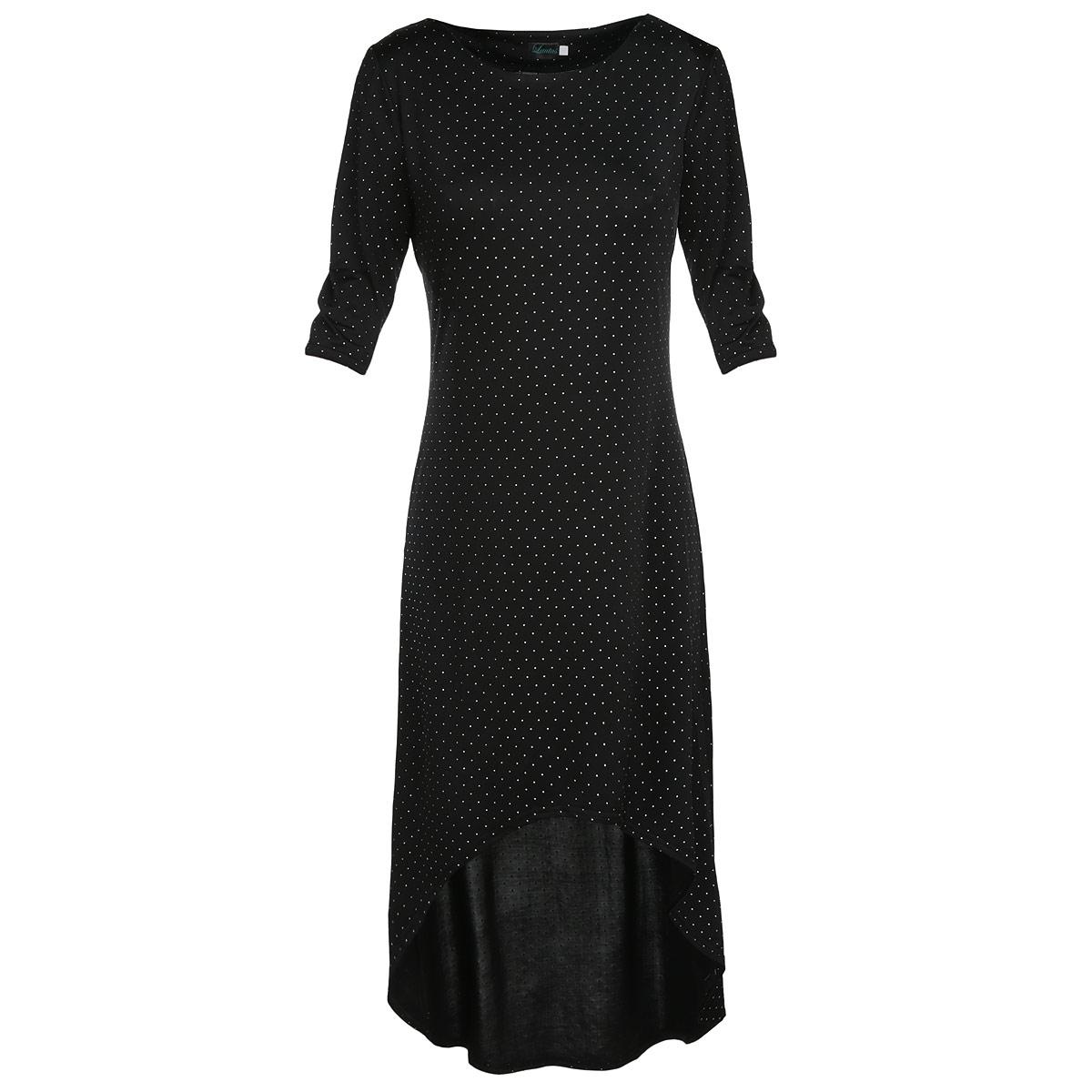 Платье632Элегантное платье Lautus изготовлено из струящегося эластичного материала, приятного на ощупь и комфортного в повседневной носке. Платье макси длины с круглым вырезом горловины и рукавами длиной 3/4 имеет асимметричную линию подола. Изделие оформлено контрастным принтом в мелкий горошек. Необычный дизайн модели позволит вам выглядеть стильно и неординарно. Облегающее платье в пол - идеальный вариант для создания эффектного образа.