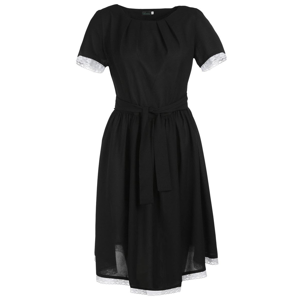 Платье. 607607Элегантное платье Lautus выполнено из легкого полупрозрачного материала - полиэстера с добавлением эластана. Материал приятный к телу и комфортный в повседневной носке. Модель приталенного силуэта с круглым вырезом горловины и короткими рукавами на спинке застегивается на потайную молнию. По линии горловины платье оформлено декоративными складками. Талию подчеркивает аккуратный поясок. Рукава и подол изделия отделаны нежным кружевом контрастного цвета. Модное платье подчеркнет достоинства вашей фигуры и займет достойное место в гардеробе.
