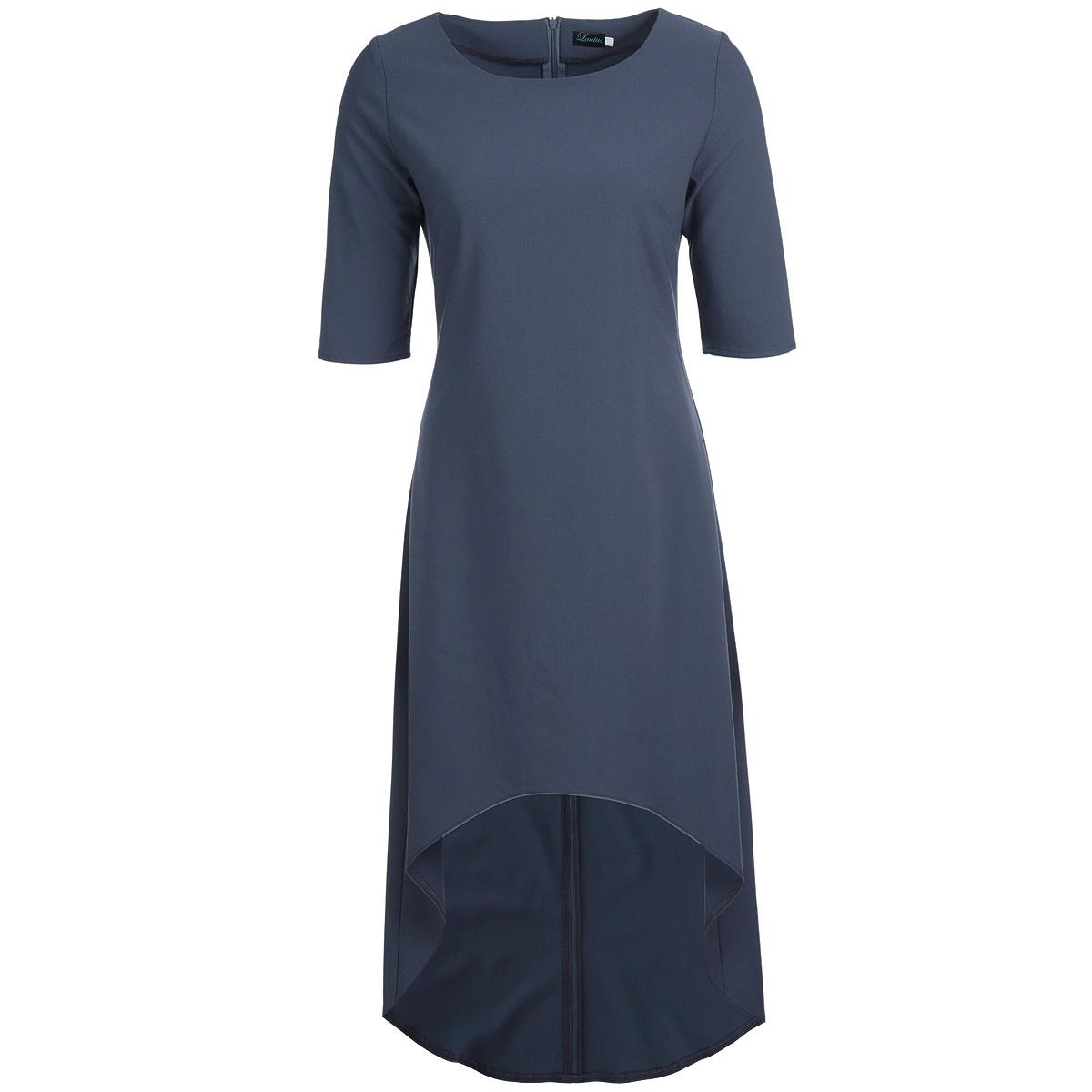 Платье640Элегантное платье Lautus изготовлено из плотного материала лаконичного цвета. Платье макси длины с круглым вырезом горловины и рукавами до локтя имеет асимметричную линию подола. На спинке изделие застегивается на потайную молнию. Необычный дизайн модели позволит вам выглядеть стильно и неординарно. Платье лаконичного цвета позволяет дополнять образ всевозможными аксессуарами - шейными платками или яркой бижутерией. Идеальный вариант для создания эффектного образа.