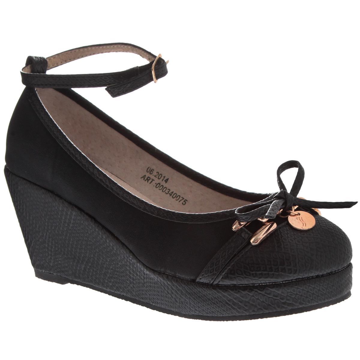 Туфли для девочки. 000340075000340075Симпатичные модные туфли для девочки от торговой марки Аллигаша придутся по вкусу юным модницам. Модель выполнена из высококачественной искусственной кожи с тиснением под рептилию и искусственного нубука. Мыс украшен аккуратным бантиком и стильной фурнитурой. Подклад и стелька выполнены из натуральной кожи. Изящный съемный ремешок позволяет использовать данную модель, как с ним, так и без него. Туфли на танкетке и не большой платформе очень комфортны и удобны в носке. Эти туфли созданы для стильных юных модниц!