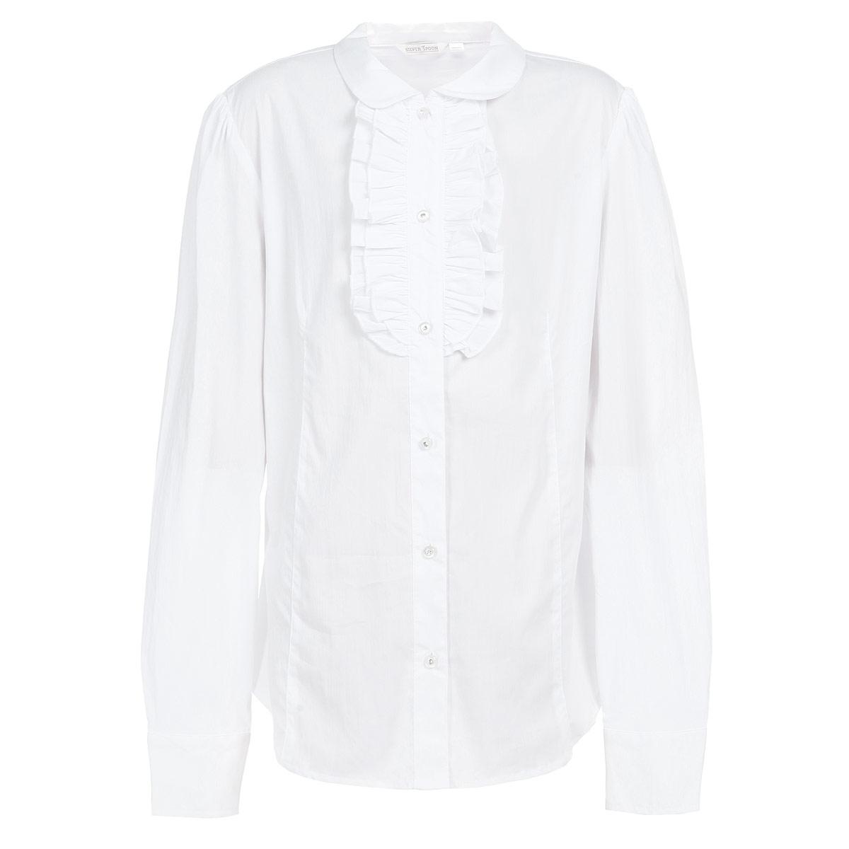 Блузка для девочки. SS-B-G-1403SS-B-G-1403-044Элегантная блузка для девочки Silver Spoon идеально подойдет для школьной формы. Изготовленная из высококачественного материала, она мягкая, легкая и приятная на ощупь, не сковывает движения и позволяет коже дышать, не раздражает даже самую нежную и чувствительную кожу ребенка, обеспечивая наибольший комфорт. Блузка прямого кроя с длинными рукавами, полукруглым низом и отложным воротничком застегивается по всей длине на оригинальные пуговицы со стразами. Длинные рукава дополнены широкими манжетами на пуговицах. На груди планка оформлена нежными рюшами. Такая блузка - незаменимая вещь для школьной формы, отлично сочетается с юбками, брюками и сарафанами. Эта модель всегда выглядит великолепно!