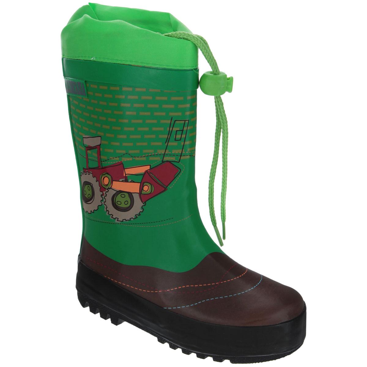 13-301Резиновые сапожки для мальчика Аллигаша - идеальная обувь в дождливую погоду. Сапоги выполнены из качественной резины и оформлены ярким принтом с изображением транспорта, а также логотипом бренда. Подкладка, выполненная из текстиля, подарит ощущение комфорта вашему ребенку. Главным преимуществом резиновых сапожек является наличие съемного текстильного носочка, что позволяет носить сапожки не только дождливым летом, но и сырой прохладной осенью. Текстильный верх голенища регулируется в объеме за счет шнурка со стоппером. Резиновые сапожки прекрасно защитят ножки вашего ребенка от промокания в дождливый день.