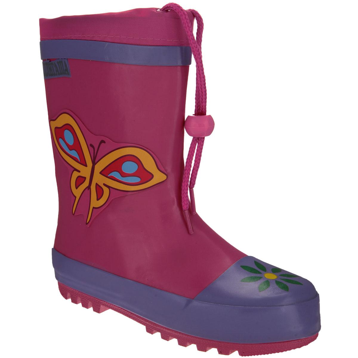 13-303Резиновые сапожки для девочки Аллигаша - идеальная обувь в дождливую погоду. Сапоги выполнены из качественной резины и оформлены аппликацией в виде бабочки, а также логотипом бренда. Подкладка, выполненная из текстиля, подарит ощущение комфорта вашему ребенку. Главным преимуществом резиновых сапожек является наличие съемного текстильного носочка, что позволяет носить сапожки не только дождливым летом, но и сырой прохладной осенью. Текстильный верх голенища регулируется в объеме за счет шнурка со стоппером. Резиновые сапожки прекрасно защитят ножки вашего ребенка от промокания в дождливый день.