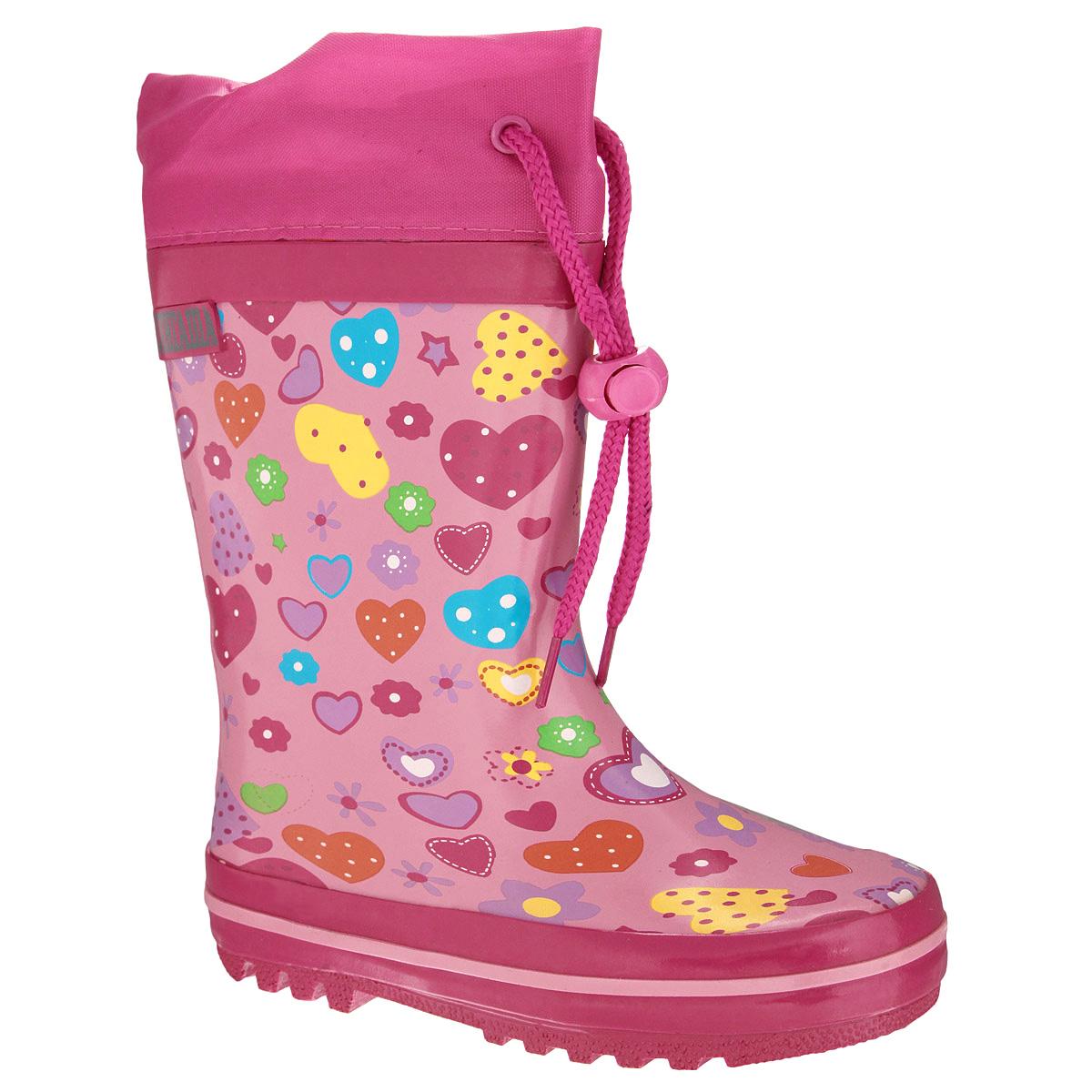 13-304Резиновые сапожки для девочки Аллигаша - идеальная обувь в дождливую погоду. Сапоги выполнены из качественной резины и оформлены ярким принтом с изображением сердечек, звездочек и цветочков, а также логотипом бренда. Подкладка, выполненная из текстиля, подарит ощущение комфорта вашему ребенку. Главным преимуществом резиновых сапожек является наличие съемного текстильного носочка, что позволяет носить сапожки не только дождливым летом, но и сырой прохладной осенью. Текстильный верх голенища регулируется в объеме за счет шнурка со стоппером. Резиновые сапожки прекрасно защитят ножки вашего ребенка от промокания в дождливый день.