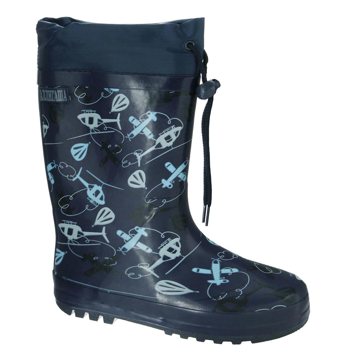 13-313Резиновые сапожки для мальчика Аллигаша - идеальная обувь в дождливую погоду. Сапоги выполнены из качественной резины и оформлены принтом с изображением воздушного транспорта, а также логотипом бренда. Подкладка, выполненная из текстиля, подарит ощущение комфорта вашему ребенку. Главным преимуществом резиновых сапожек является наличие съемного текстильного носочка, что позволяет носить сапожки не только дождливым летом, но и сырой прохладной осенью. Текстильный верх голенища регулируется в объеме за счет шнурка со стоппером. Резиновые сапожки прекрасно защитят ножки вашего ребенка от промокания в дождливый день.