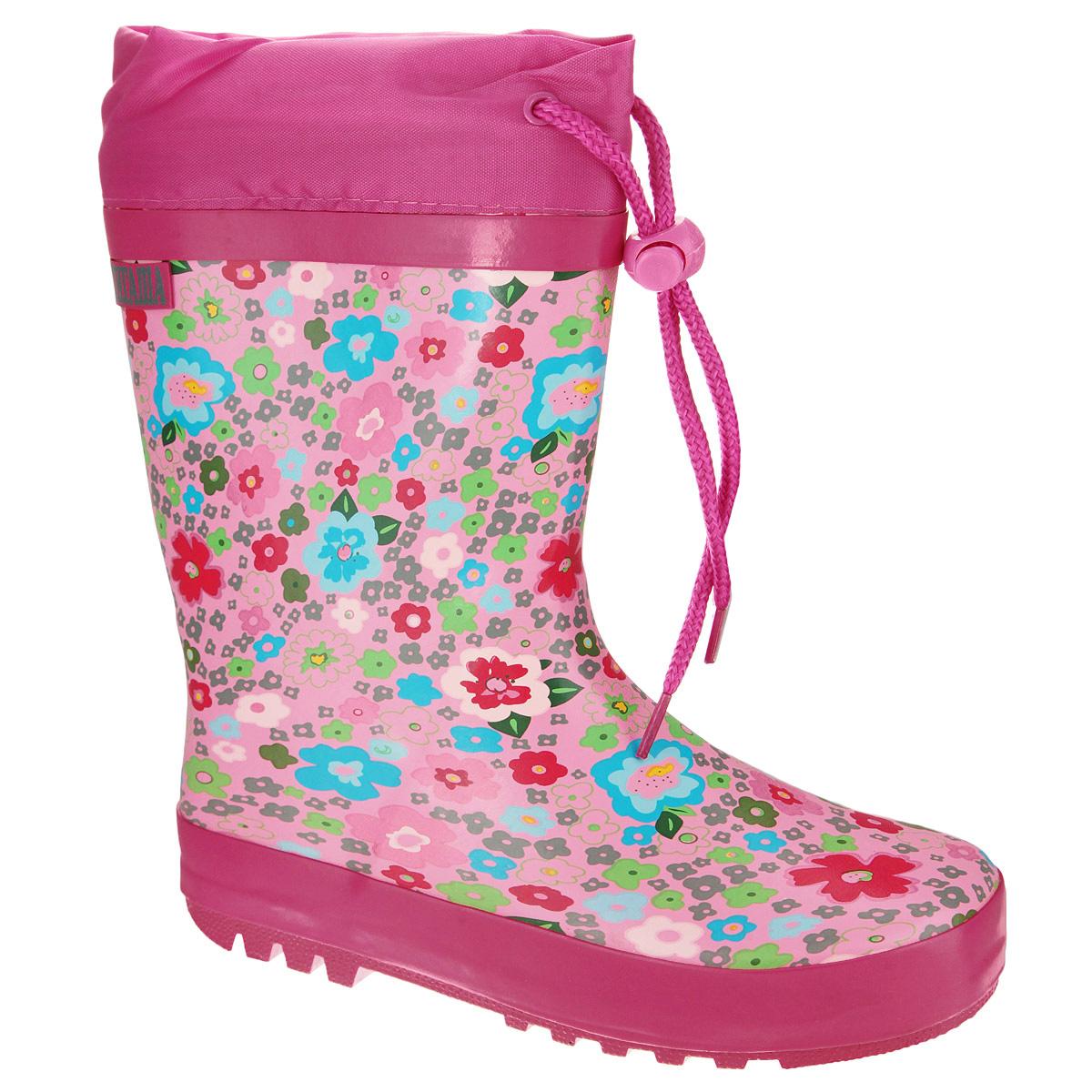 13-310Резиновые сапожки для девочки Аллигаша - идеальная обувь в дождливую погоду. Сапоги выполнены из качественной резины и оформлены ярким цветочным принтом, а также логотипом бренда. Подкладка, выполненная из текстиля, подарит ощущение комфорта вашему ребенку. Главным преимуществом резиновых сапожек является наличие съемного текстильного носочка, что позволяет носить сапожки не только дождливым летом, но и сырой прохладной осенью. Текстильный верх голенища регулируется в объеме за счет шнурка со стоппером. Резиновые сапожки прекрасно защитят ножки вашего ребенка от промокания в дождливый день.