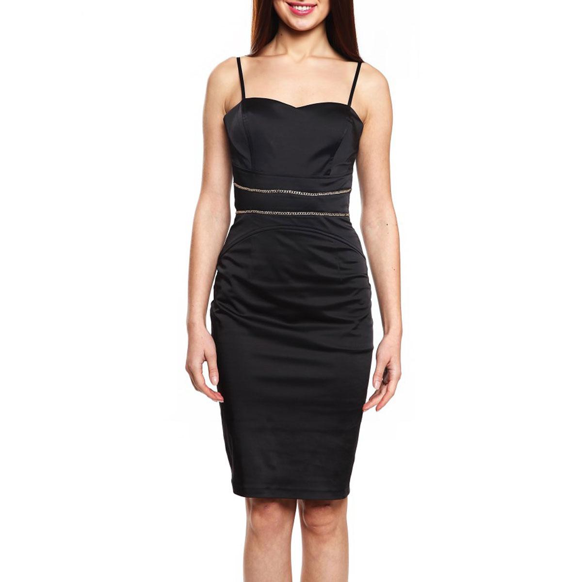 Платье59393-141207TСтрогое, но одновременно игривое платье Topsandtops, выполненное из высококачественного материала - хлопка и полиэстера, будет отлично смотреться на вас. Модель облегающего кроя, с тонкими регулируемыми бретелями и необычным вырезом на спине застегивается сбоку на потайную застежку-молнию. Уплотненный лиф с поддерживающими чашечками для ношения без бюстгальтера. Спереди изделие украшено декоративной металлической цепочкой. Это платье отличный вариант для вашего гардероба. Идеальный вариант для создания эффектного образа.