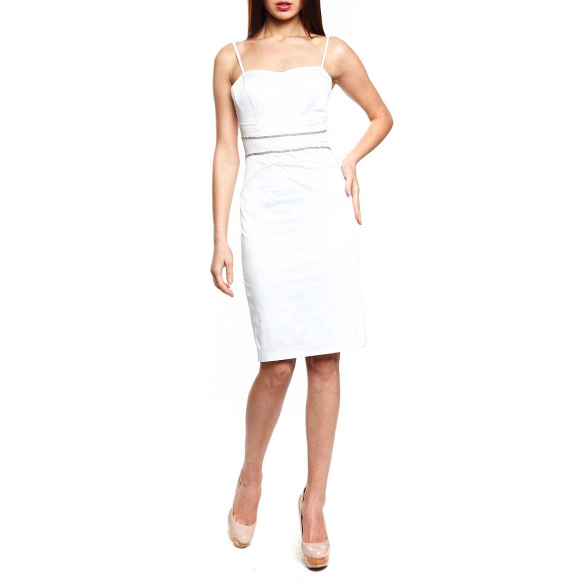 Платье. 59393-141207T59393-141207TСтрогое, но одновременно игривое платье Topsandtops, выполненное из высококачественного материала - хлопка и полиэстера, будет отлично смотреться на вас. Модель облегающего кроя, с тонкими регулируемыми бретелями и необычным вырезом на спине застегивается сбоку на потайную застежку-молнию. Уплотненный лиф с поддерживающими чашечками для ношения без бюстгальтера. Спереди изделие украшено декоративной металлической цепочкой. Это платье отличный вариант для вашего гардероба. Идеальный вариант для создания эффектного образа.