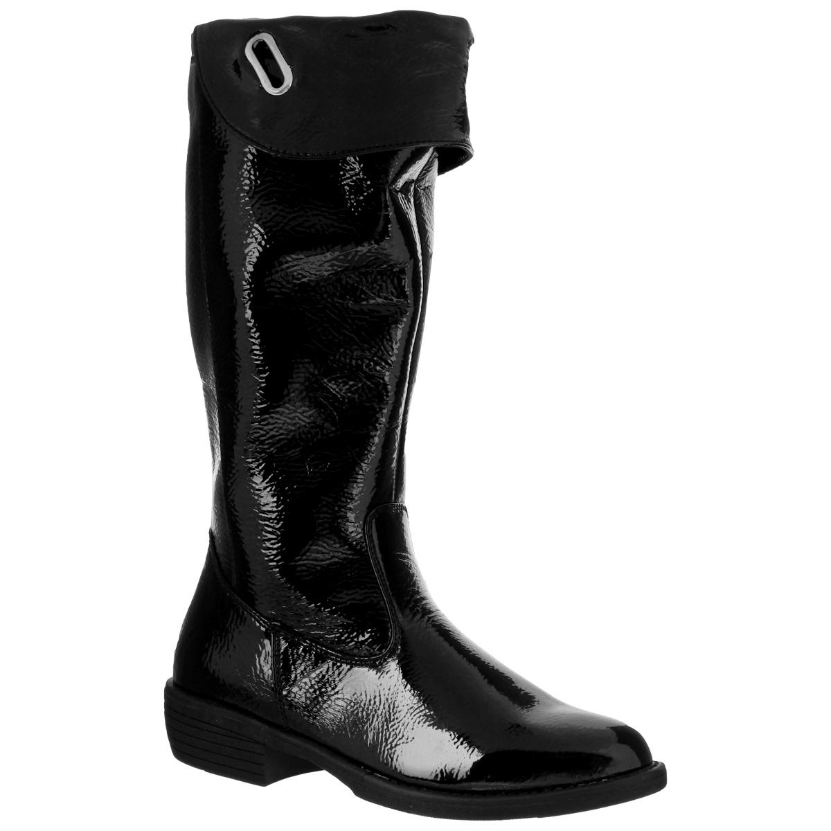 11-136Модные, стильные сапоги-ботфорты для девочки Аллигаша обеспечат удобство и комфорт ножкам вашей дочурки в прохладную погоду. Сапоги выполнены из высококачественного наплака - искусственной, мягкой, лакированной кожи. Фиксация модели на ноге обеспечивается за счет длинной застежки-молнии. Функциональный отворот при необходимости позволит увеличить высоту голенища. Внутренняя текстильная отделка в клетку и стелька-ЭВА подарят тепло и уют. Невысокий устойчивый каблук и подошва с противоскользящим рифлением гарантирует прекрасное сцепление на любой поверхности. Эти сапожки созданы для настоящих маленьких модниц!