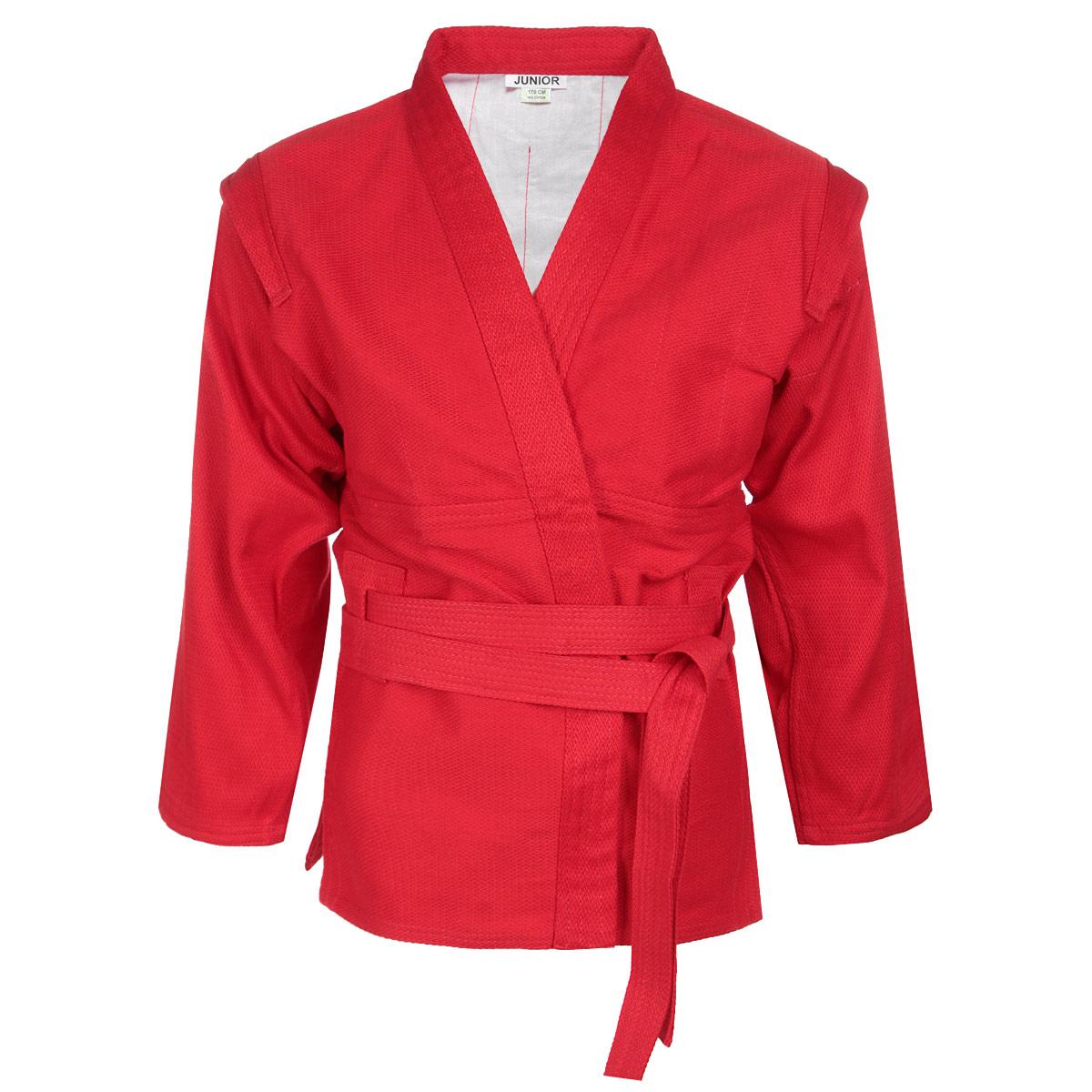 Кимоно детское для самбо Junior. SСJ-2201SСJ-2201Детское кимоно для самбо Green Hill Junior с глубоким запахом, боковыми разрезами и длинным рукавом изготовлено из плотного хлопка (плотность 300 г/м2) с плетением елочка. На изнаночной стороне для максимального комфорта до линии талии предусмотрена хлопковая подкладка. Боковые швы, края рукавов и полочек, низ изделия укреплены дополнительными строчками. Модель укреплена в подмышечной области. В области верхней части спины имеет особые прорези, в которые вставляется пояс, на плечах добавлены выступающие крылышки, предназначенные для выполнения захватов. Длинный плотный пояс укреплен многорядной прострочкой.