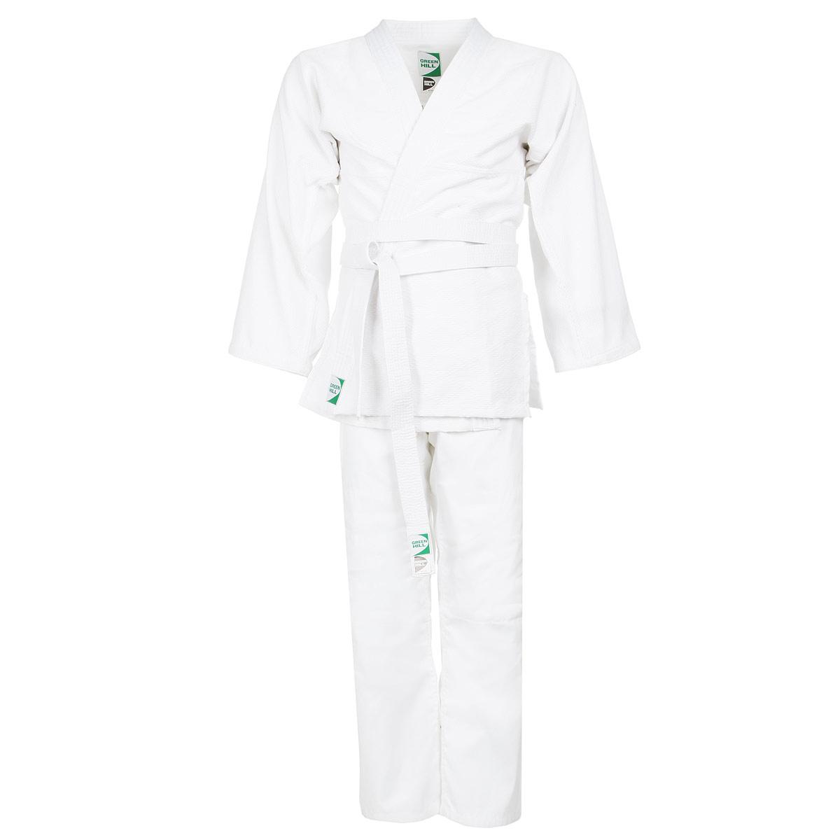 Кимоно для дзюдоJSA-10429Кимоно для дзюдо Green Hill Adult состоит из рубашки и брюк. Просторная рубашка с запахом, боковыми разрезами и длинными рукавами-кимоно изготовлена из плотного хлопка с фактурным плетением. Боковые швы, края рукавов и полочек, низ рубашки укреплены дополнительными строчками и крепкой лентой с внутренней стороны. Просторные брюки особого покроя на поясе с затягивающимся шнурком для фиксации на талии имеют шлевки для дополнительного пояса и укреплены на коленях. Кимоно отлично подходит тренировок в зале и на соревнованиях.
