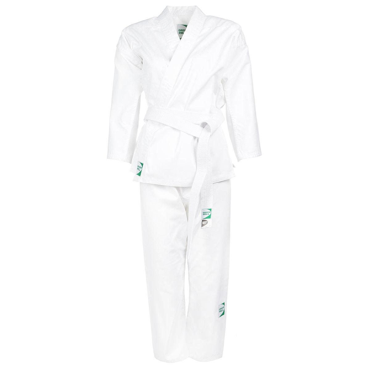 Кимоно для каратэ Adult. KSA-10347KSA-10347Кимоно для каратэ Green Hill Adult состоит из рубашки и брюк. Просторная рубашка с запахом, боковыми разрезами и длинными рукавами-кимоно изготовлена из плотного хлопка. Боковые швы, края рукавов и полочек, низ рубашки укреплены дополнительными строчками и крепкой лентой с внутренней стороны. Рубашка завязывается на специальные завязки. Просторные брюки особого покроя имеют широкую эластичную резинку на талии, обеспечивающую комфортную посадку. Изделия оформлены нашивками с логотипом бренда. Кимоно рекомендуется для тренировок в зале.