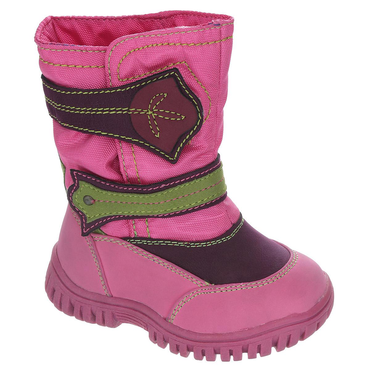 Сапоги для девочки. 13-38313-383Замечательные сапоги для девочки Аллигаша, изготовленные из современных материалов, обеспечат удобство и комфорт ножкам вашей малышки в прохладную погоду. Верх выполнен из комбинаций искусственной кожи (нубука) и текстиля с пропиткой от промокания, а также оформлен текстильными ставками и контрастной прострочкой. Модель на высокой рифленой подошве с округлым мыском обеспечивает удобство и практичность на каждый день. Удобная пяточная часть укреплена. Внутренняя отделка из текстиля и шерсти. Две застежки-липучки оригинального дизайна по линии подъема обеспечивают практичность и комфортную фиксацию модели на ноге. Стелька из натуральной шерсти не даст ножке замерзнуть. Прорезиненная подошва с протектором обеспечивает удобство и комфорт в носке при любой погоде. В таких сапожках ножкам вашего ребенка всегда будет комфортно, уютно и тепло!