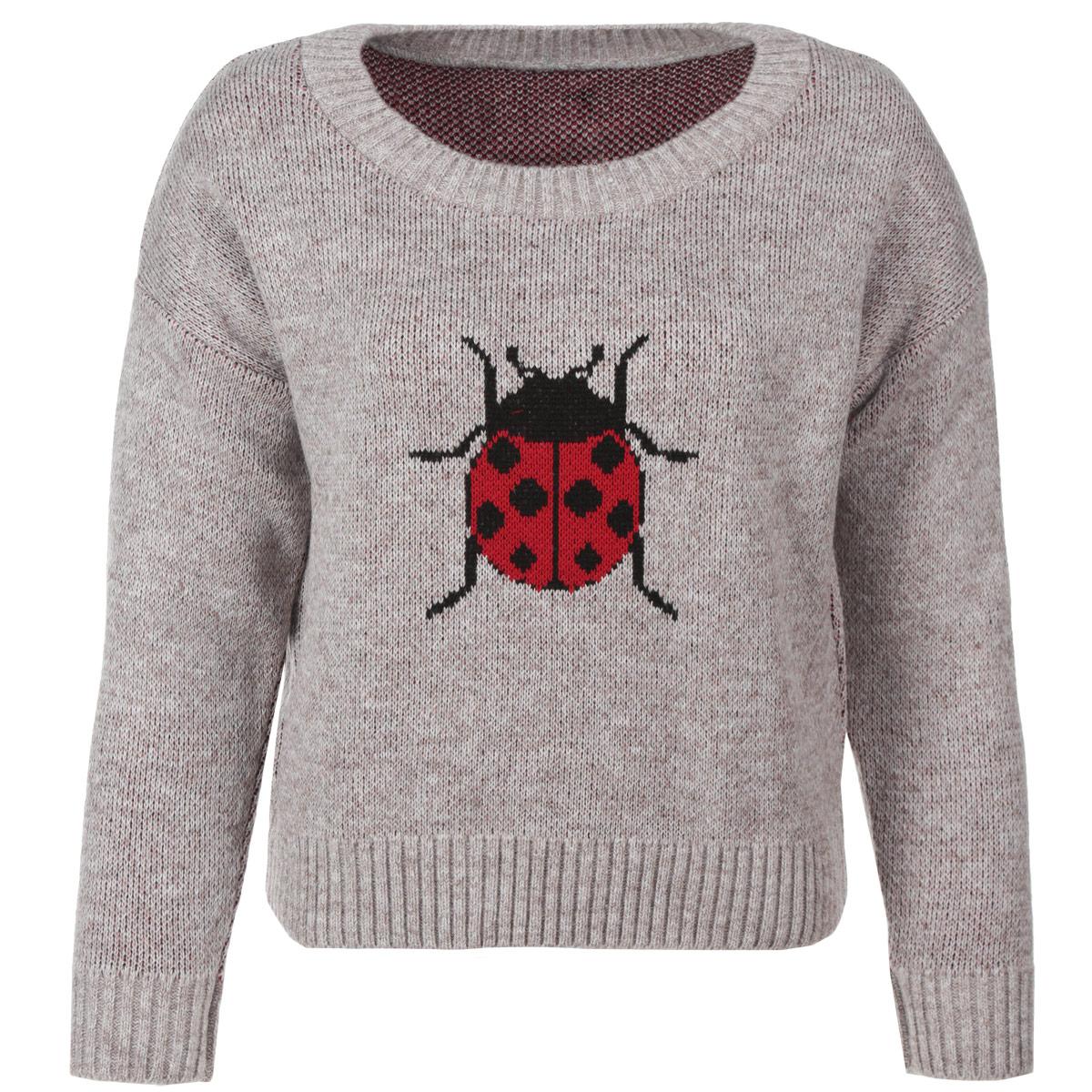 Свитер женский. 906906Теплый вязаный свитер Milana Style станет незаменимой вещью в холодное время года. Модель с длинными рукавами и круглым вырезом горловины спереди оформлена крупным вязаным изображением божьей коровки. Изделие выполнено из полиакрилонитрильной пряжи с добавлением шерсти. Горловина, манжеты и низ изделия связаны двойной резинкой. Стильный свитер прекрасно дополнит ваш повседневный гардероб.