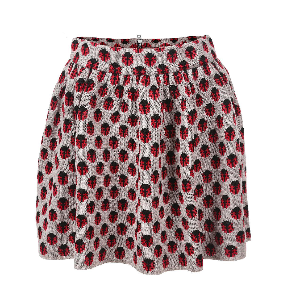 Юбка. 908908Стильная теплая юбка Milana Style изготовлена из мягкой шерстяной пряжи. Юбка расклешенного кроя на широком поясе сзади застегивается на пластиковую молнию. Изюминка данной модели - оригинальный принт в виде божьих коровок, он будет привлекать внимание и восторженные взгляды окружающих. Эта модная и в тоже время комфортная юбка - отличный вариант на каждый день.