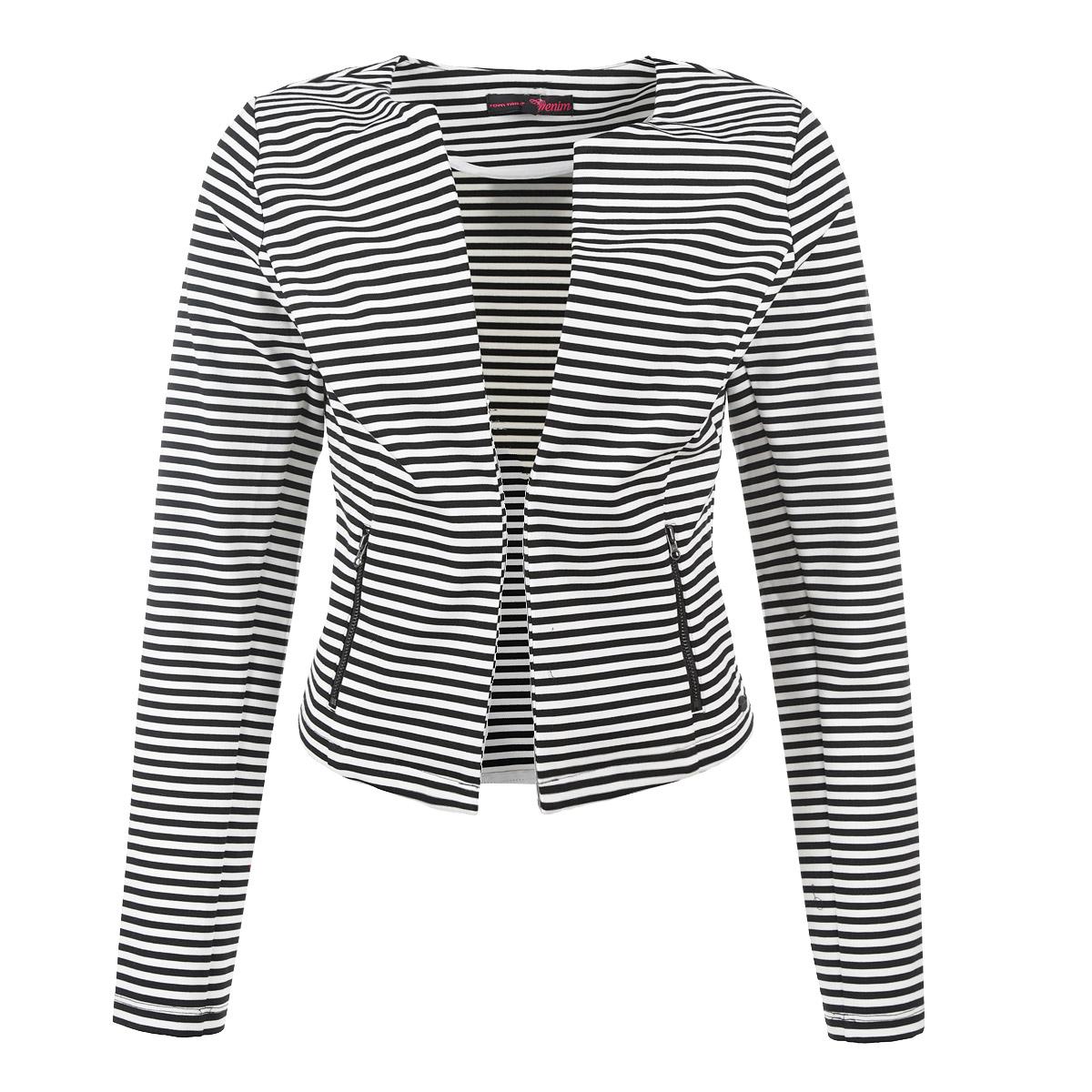 Пиджак3922187.01.71Стильный женский пиджак Tom Tailor Denim, выполненный из высококачественного трикотажного материала, обладает высокой теплопроводностью, воздухопроницаемостью и гигроскопичностью, очень приятен при носке. Модель приталенного кроя с длинными рукавами - идеальный вариант для создания образа в стиле Casual. Пиджак без застежки. Изделие оформлено полосатым принтом. Спереди предусмотрены втачные карманы на металлических молниях. Такая модель будет дарить вам комфорт в течение всего дня и послужит замечательным дополнением к вашему гардеробу.
