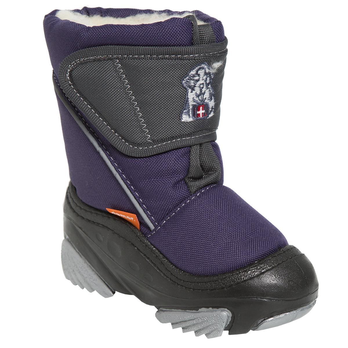 Дутики для мальчика. 4021 DOGGY В - Demar4021 DOGGY ВТеплая и удобная обувь для малышей. Высокая подошва, выполненная из литой резины, имеет специальное рифление, которое защищает от скольжения и сохраняет гибкость даже в значительные морозы. Имеет светоотражающий элемент.