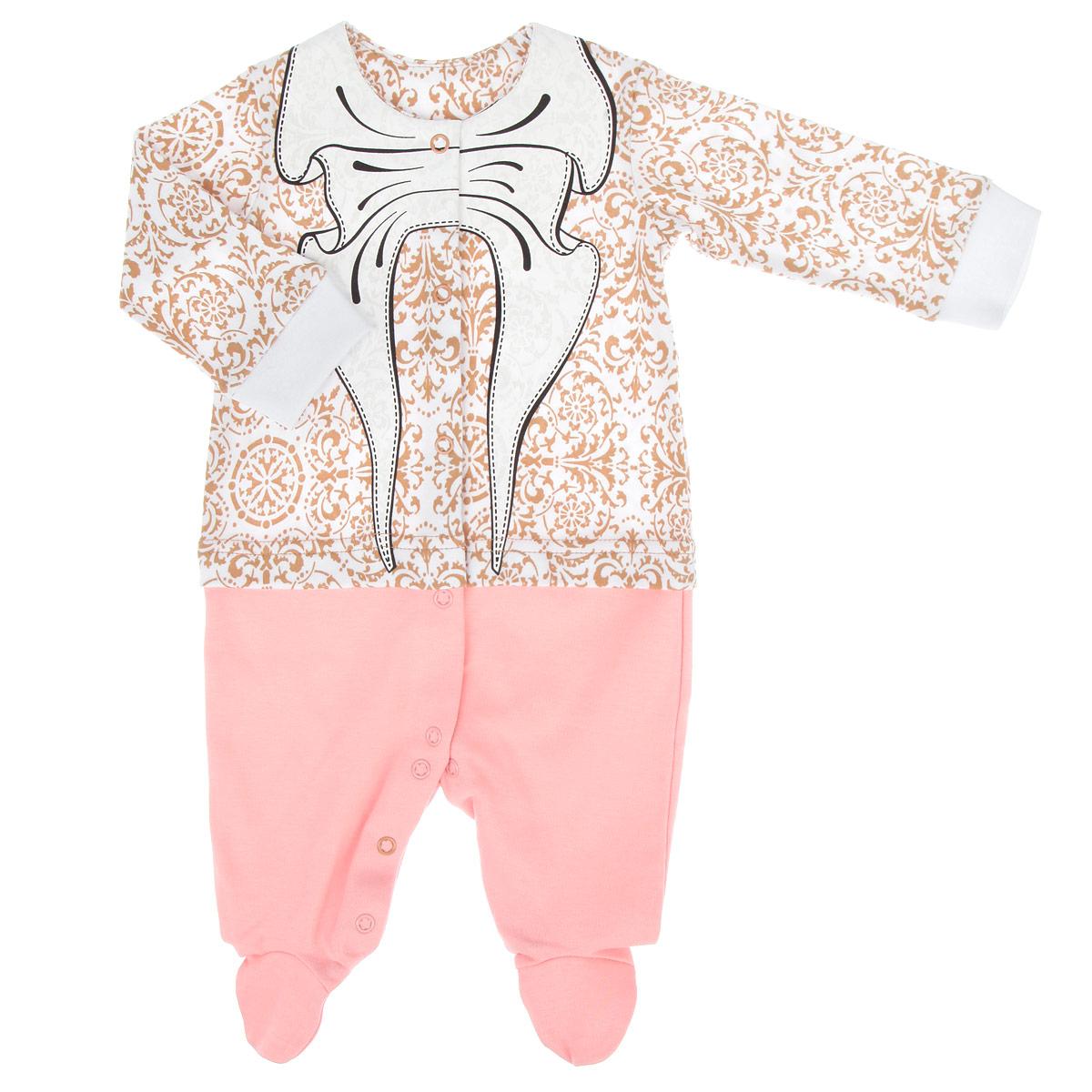 Комбинезон для девочки. 22-24322-243Очаровательный комбинезон для девочки Ёмаё - очень удобный и практичный вид одежды для малышки. Комбинезон выполнен из интерлока - натурального хлопка, благодаря чему он необычайно мягкий и приятный на ощупь, не раздражает нежную кожу ребенка и хорошо вентилируется, а эластичные швы приятны телу младенца и не препятствуют его движениям. Комбинезон с длинными рукавами, круглым вырезом горловины и закрытыми ножками имеет застежки-кнопки спереди и на ластовице, которые помогают легко переодеть ребенка или сменить подгузник. Рукава понизу дополнены широкими трикотажными манжетами. Оформлено изделие оригинальным принтом с изображением крупного банта, что придает изделию оригинальность, а также ненавязчивым орнаментом. Отделка верхней части придает эффект 2 в 1 (кофточка, ползунки). С таким детским комбинезоном спинка и ножки вашей малышки всегда будут в тепле, он идеален для использования днем и незаменим ночью. Комбинезон полностью соответствует особенностям жизни младенца...