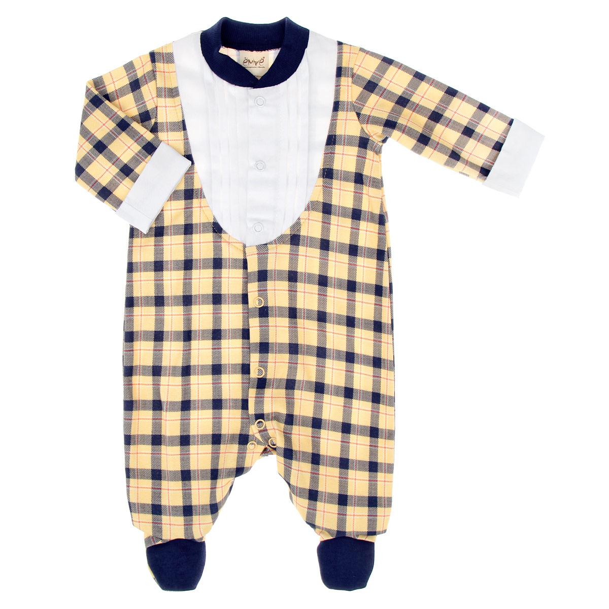 Комбинезон для мальчика. 22-23822-238_в клеткуДетский комбинезон для мальчика Ёмаё - очень удобный и практичный вид одежды для малыша. Комбинезон выполнен из интерлока - натурального хлопка, благодаря чему он необычайно мягкий и приятный на ощупь, не раздражает нежную кожу ребенка и хорошо вентилируется, а эластичные швы приятны телу младенца и не препятствуют его движениям. Комбинезон с длинными рукавами и закрытыми ножками имеет застежки-кнопки от горловины до щиколоток, которые помогают легко переодеть ребенка или сменить подгузник. Рукава дополнены широкими контрастными отворотами. Горловина дополнена небольшим трикотажным воротничком контрастного цвета. Отделка верхней части придает эффект 2 в 1 (рубашка, комбинезон). С таким детским комбинезоном спинка и ножки вашего малыша всегда будут в тепле, он идеален для использования днем и незаменим ночью. Комбинезон полностью соответствует особенностям жизни младенца в ранний период, не стесняя и не ограничивая его в движениях!