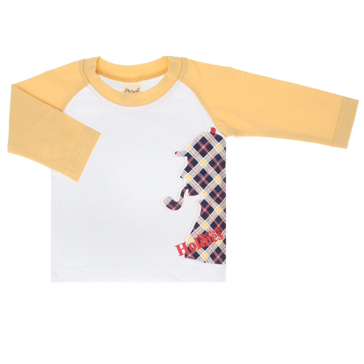 Футболка с длинным рукавом для мальчика. 27-61227-612Стильная футболка для мальчика Ёмаё с длинным рукавом идеально подойдет вашему малышу. Изготовленная из эластичного хлопка, она необычайно мягкая и приятная на ощупь, не сковывает движения ребенка и позволяет коже дышать, не раздражает даже самую нежную и чувствительную кожу, обеспечивая наибольший комфорт. Футболка с длинными рукавами-реглан и круглым вырезом горловины спереди оформлена оригинальной термоаппликацией в виде силуэта Шерлока Холмса. Вырез горловины дополнен трикотажной эластичной резинкой. Оригинальный современный дизайн и расцветка делают эту футболку модным и стильным предметом детского гардероба. В ней ваш маленький модник будет чувствовать себя уютно и комфортно, и всегда будет в центре внимания!