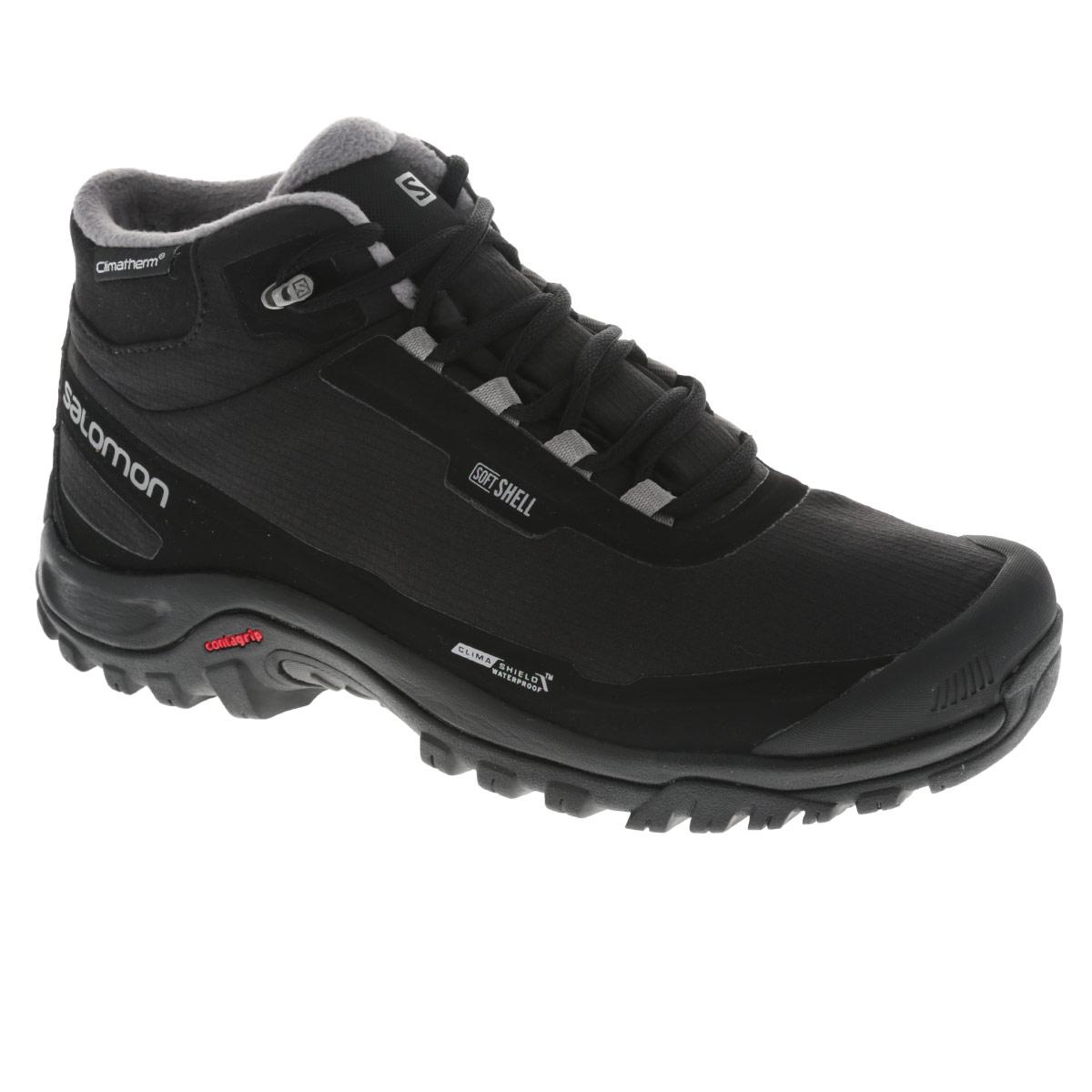 L37281100Удобные мужские ботинки Shelter CS WP от Salomon прекрасно подойдут для активного отдыха и пеших прогулок. Верх модели выполнен из водо- и ветронепроницаемого материала (Softshell) со вставками из искусственных материалов. Обувь оформлена сбоку названием бренда, на заднике и на язычке - фирменным логотипом. Подкладка выполнена из мягкого дышащего текстильного материала. Защитные накладки на мыске и на заднике надолго сохранят опрятный вид и позволят продлить срок службы модели. Технология защиты от грязи Mud Guard. Внутренняя мембрана Climashield Waterproof обеспечивает дополнительную защиту от влаги. Утеплитель Climatherm, распределенный по всей площади ботинка, рассчитан на температуру до -18 °C. Эргономичная стелька Ortholite с прослойкой ЭВА для амортизации и комфорта. Промежуточная подошва EVA обеспечивает дополнительную амортизацию. Резиновая подошва Contagrip со специальным рисунком протектора разработана для ходьбы по пересеченной местности и обеспечит...