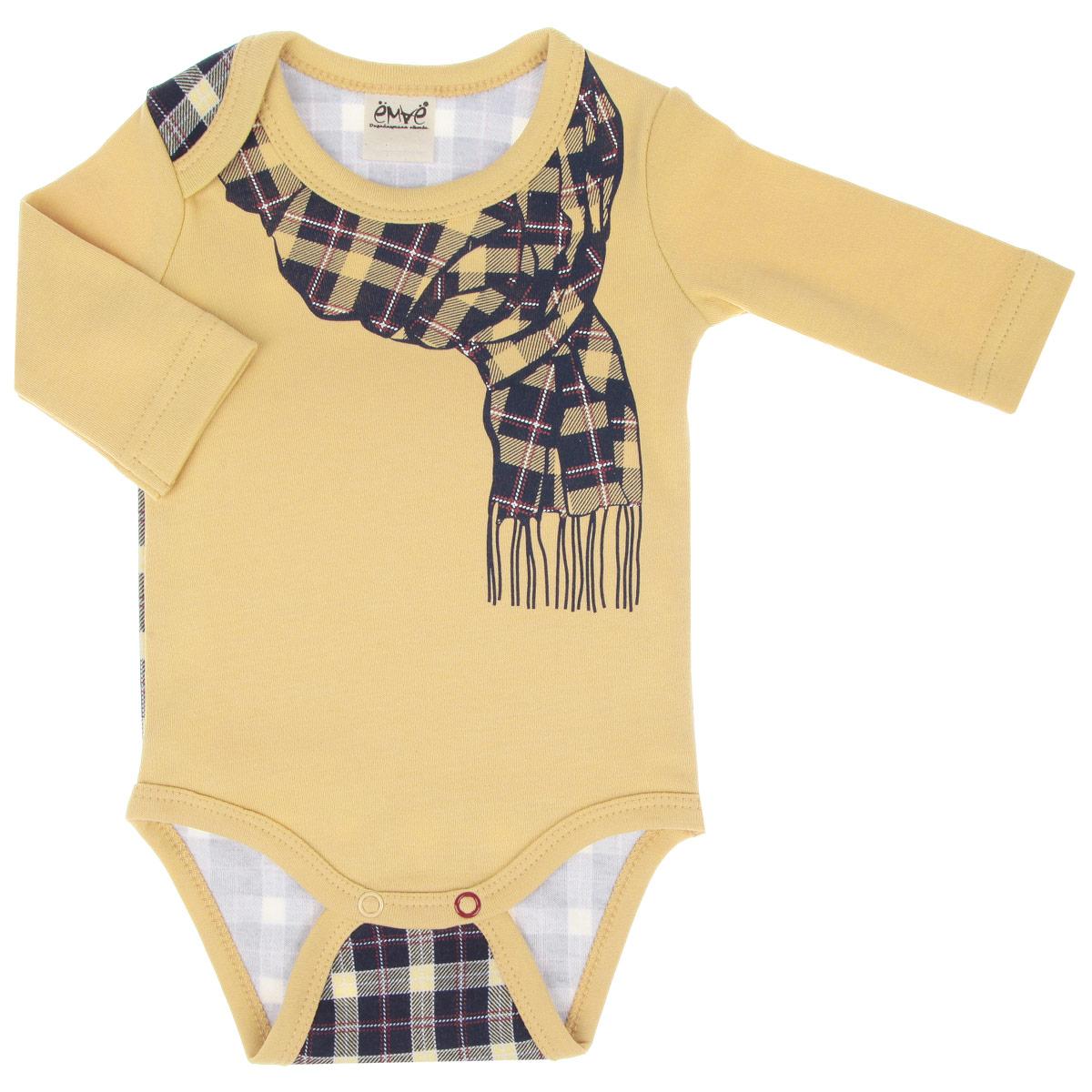 Боди для мальчика. 24-23824-238Удобное боди для мальчика Ёмаё послужит идеальным дополнением к гардеробу вашего крохи, обеспечивая ему наибольший комфорт. Изготовленное из интерлока - натурального хлопка, оно необычайно мягкое и легкое, не раздражает нежную кожу ребенка и хорошо вентилируется, а эластичные швы приятны телу младенца и не препятствуют его движениям. Боди с длинными рукавами и круглым вырезом горловины имеет удобные запахи на плечах, а также застежки-кнопки на ластовице, которые помогают легко переодеть ребенка или сменить подгузник. Оформлено изделие принтом в клетку, а также принтом с изображением шарфика. Боди полностью соответствует особенностям жизни ребенка в ранний период, не стесняя и не ограничивая его в движениях. В нем ваш младенец всегда будет в центре внимания.
