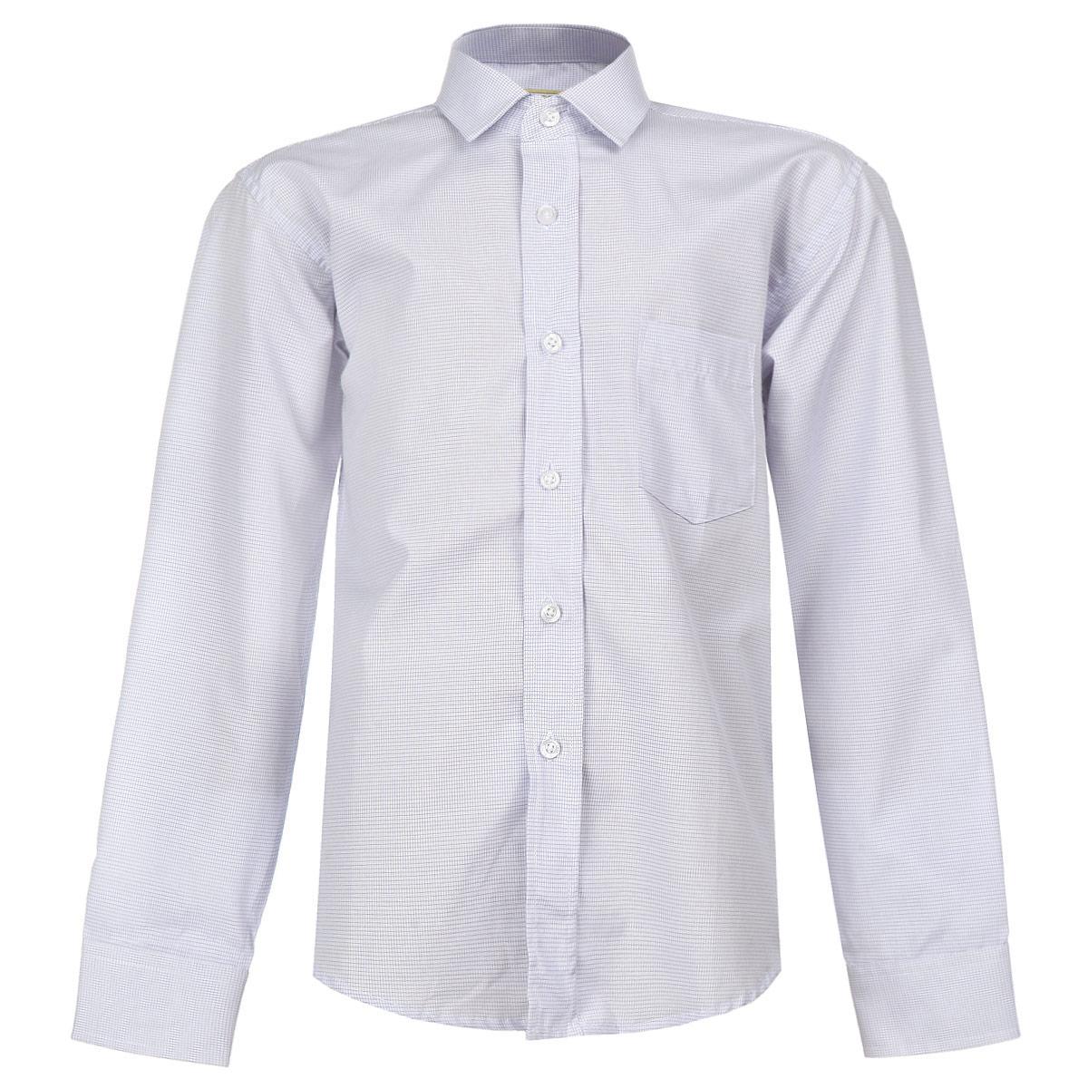 Рубашка для мальчика. Rich 155Rich 155Стильная рубашка для мальчика Tsarevich идеально подойдет вашему юному мужчине. Изготовленная из хлопка с добавлением полиэстера, она мягкая и приятная на ощупь, не сковывает движения и позволяет коже дышать, не раздражает даже самую нежную и чувствительную кожу ребенка, обеспечивая ему наибольший комфорт. Рубашка в мелкую клетку классического кроя с длинными рукавами и отложным воротничком застегивается по всей длине на пуговицы. На груди она дополнена накладным карманом. Края рукавов дополнены широкими манжетами на пуговицах. Низ изделия закруглен к боковым швам. Такая рубашка будет прекрасно смотреться с брюками, пиджаками и жилетами. Она станет неотъемлемой частью школьного гардероба.