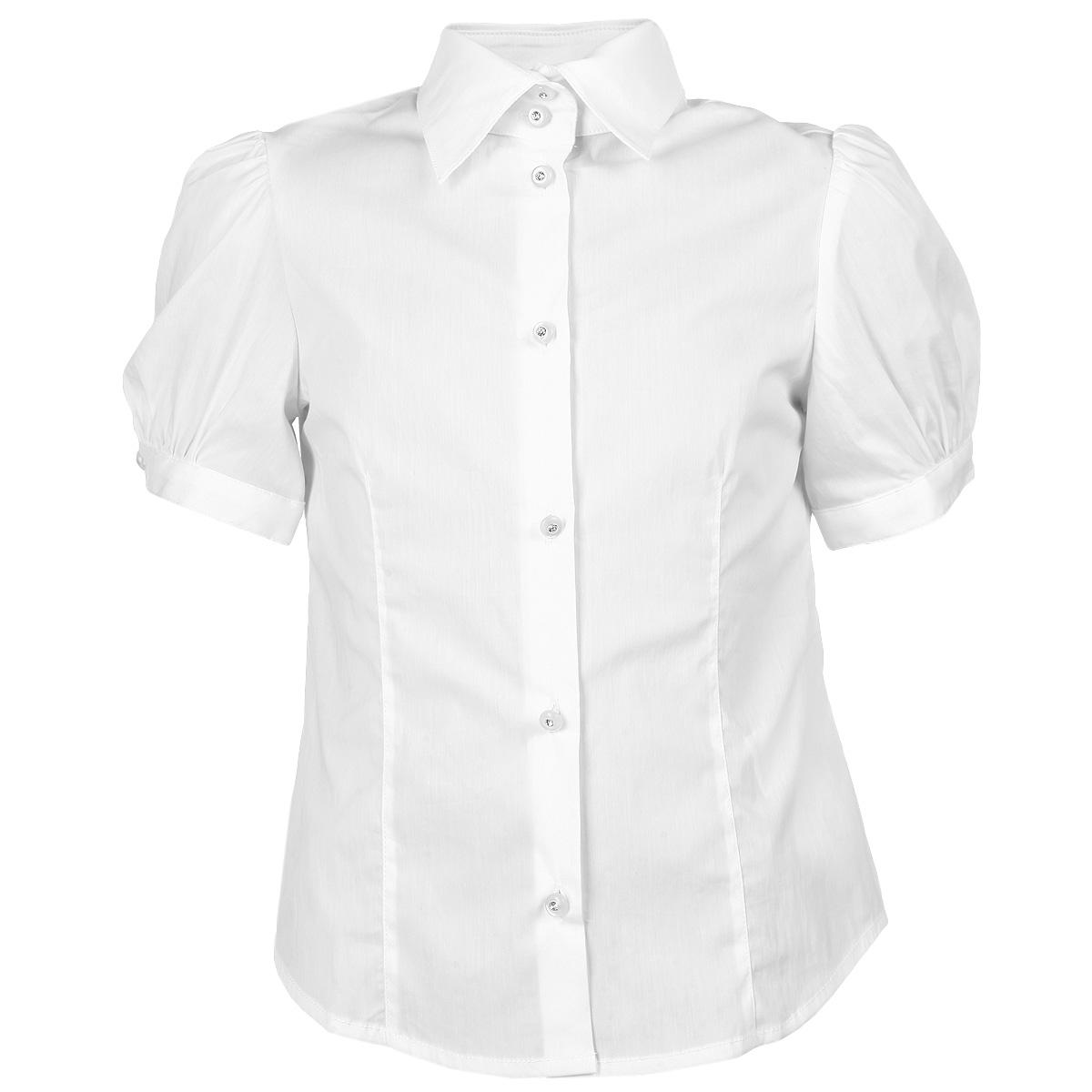 Блузка для девочки. SS-B-G-1504-044SS-B-G-1504-044Стильная блузка для девочки Silver Spoon идеально подойдет для школы. Изготовленная из высококачественного материала, она необычайно мягкая, легкая и приятная на ощупь, не сковывает движения и позволяет коже дышать, не раздражает даже самую нежную и чувствительную кожу ребенка, обеспечивая наибольший комфорт. Спандекс играет роль смягчающего волокна и гарантирует комфортную посадку блузки на фигуре. Модель трапециевидного кроя с короткими рукавами-фонариками и отложным воротничком застегивается спереди на оригинальные пуговицы. Низ рукавов застегивается на пуговицы. Такая блузка - незаменимая вещь для школьной формы, отлично сочетается с юбками, брюками и сарафанами.